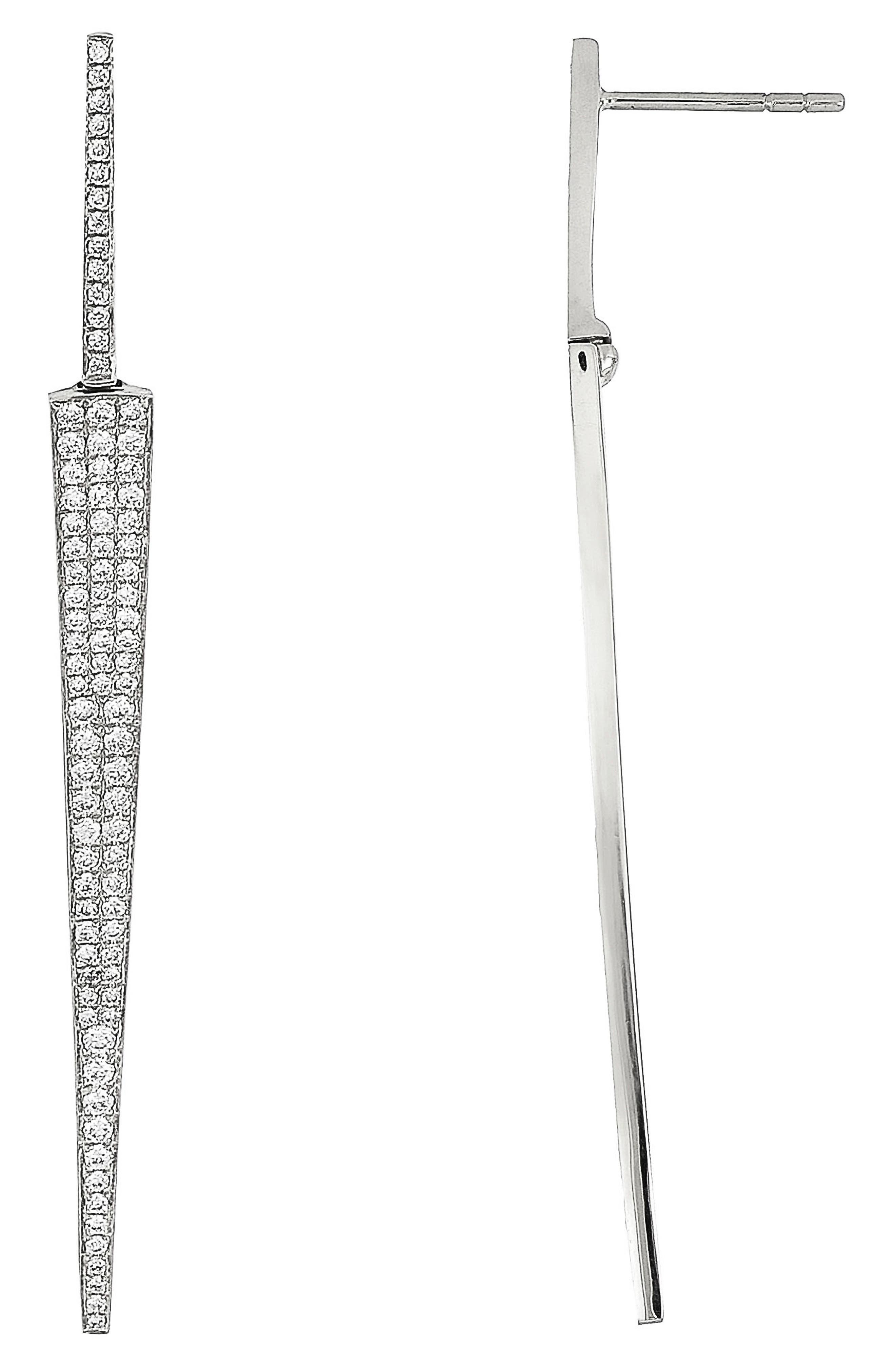 Prism Diamond Dagger Earrings,                             Main thumbnail 1, color,                             White Gold