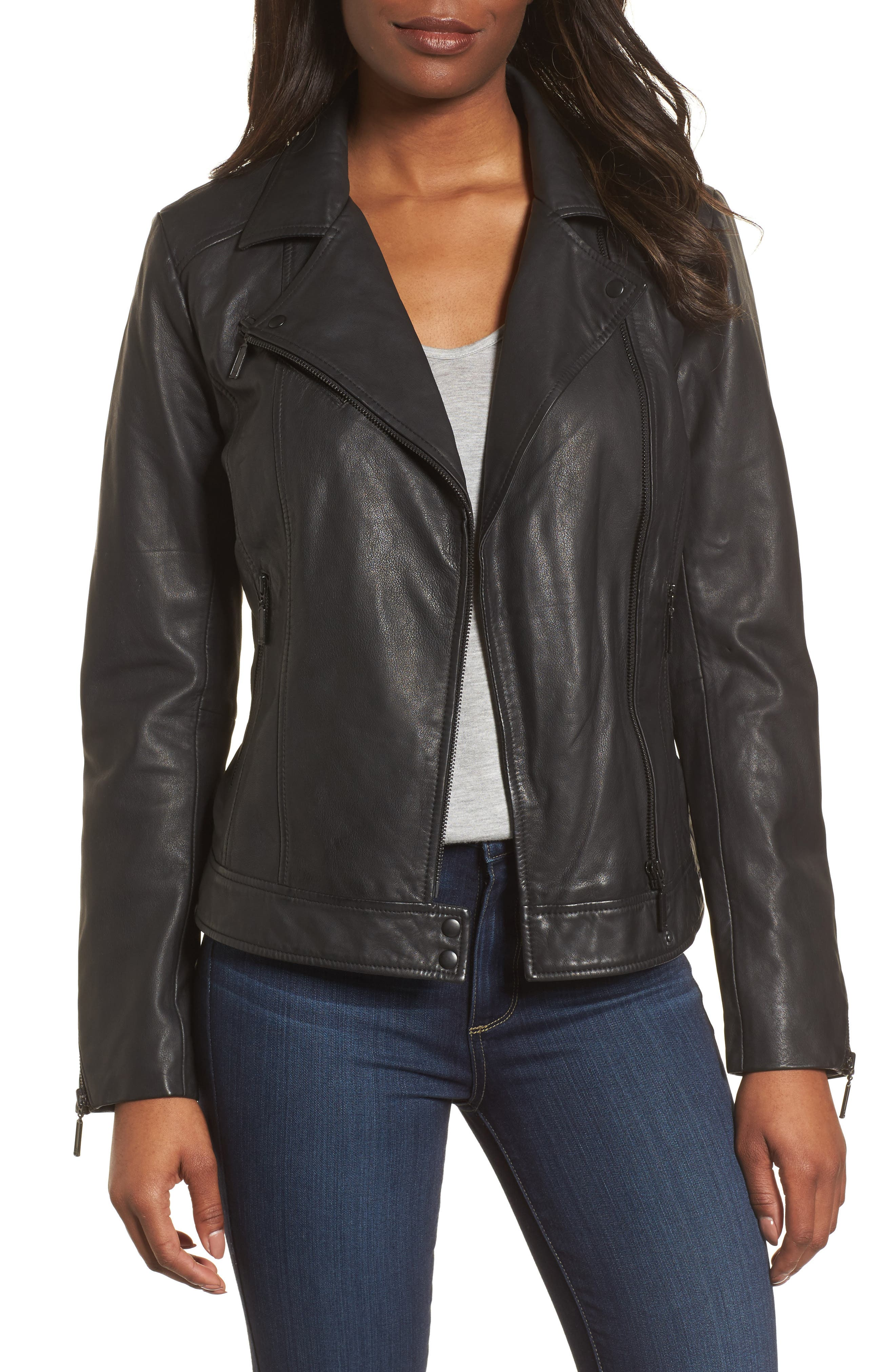 Asymmetrical Leather Jacket,                         Main,                         color, Black