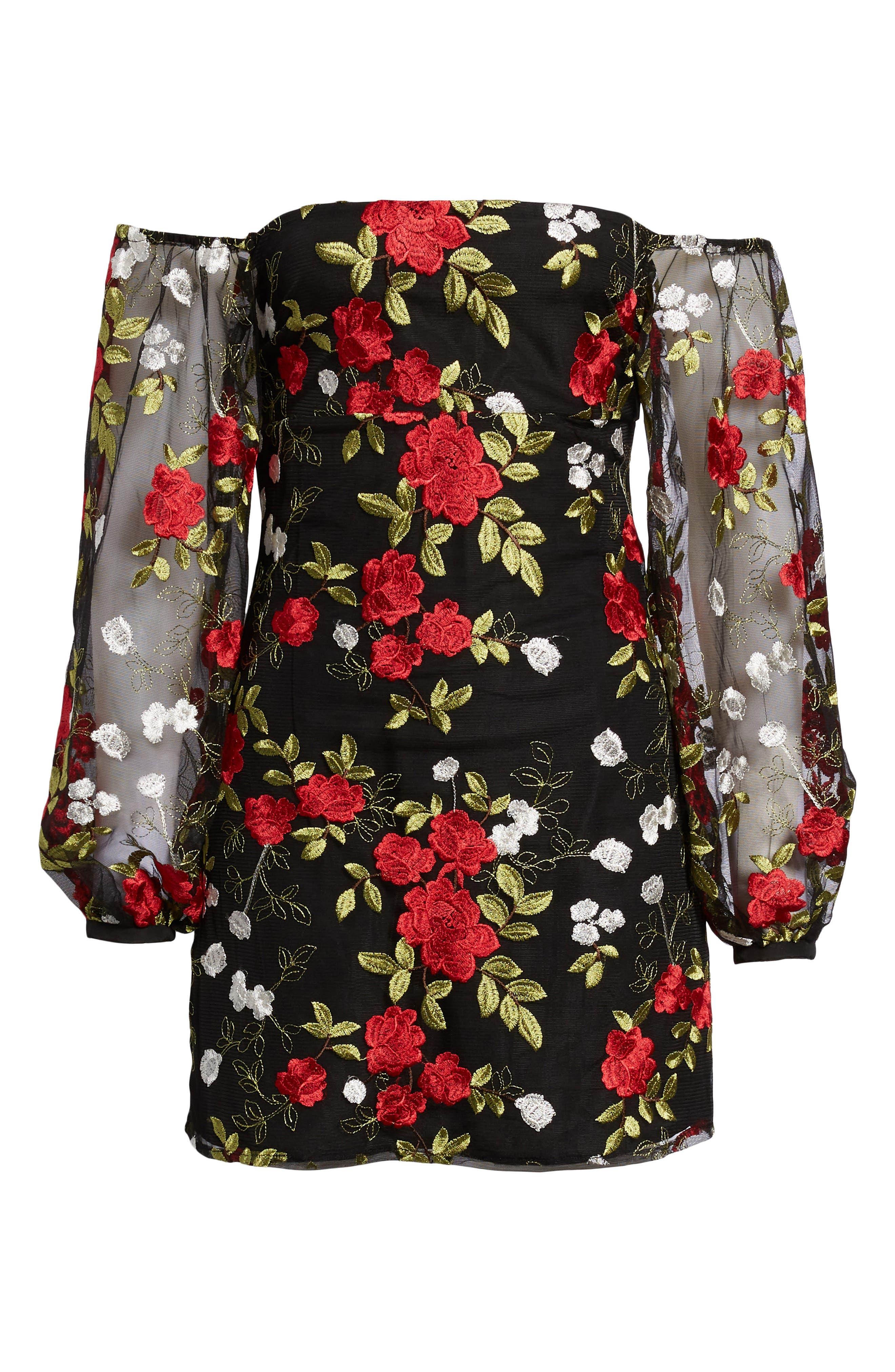 Bliss Off the Shoulder Dress,                             Alternate thumbnail 6, color,                             Halcyon