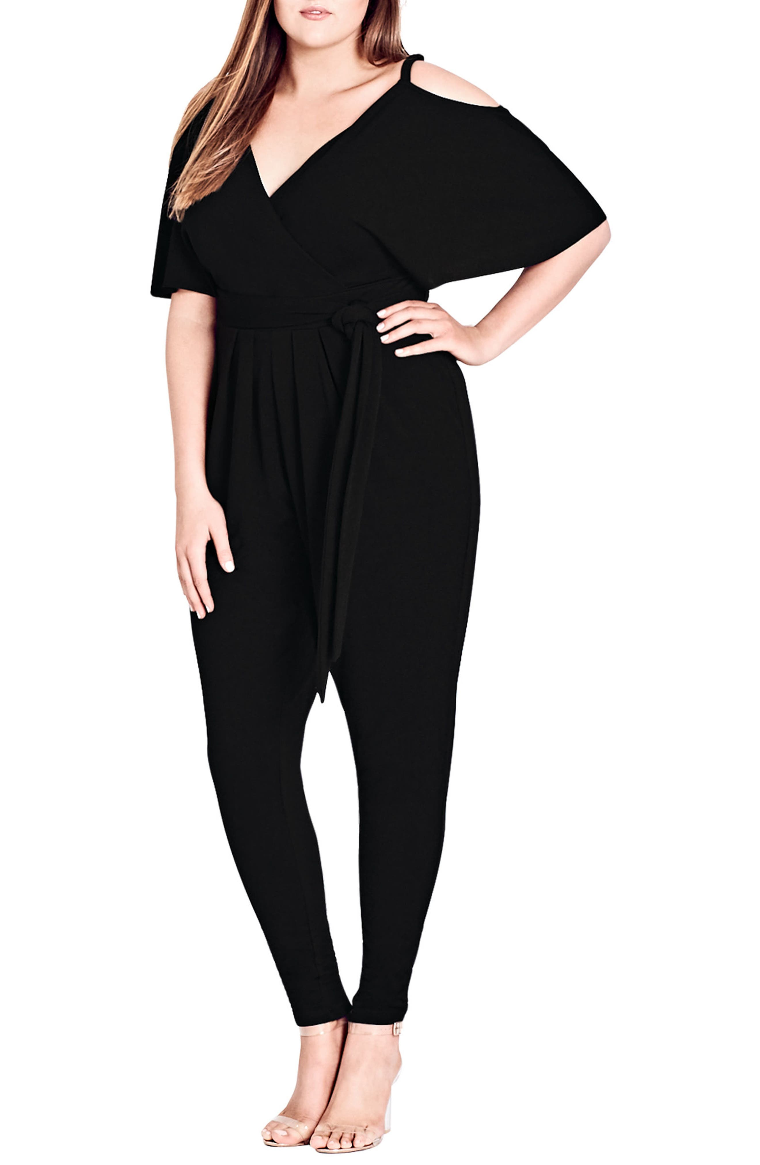 Main Image - City Chic Sassy Girl V-Neck Jumpsuit (Plus Size)
