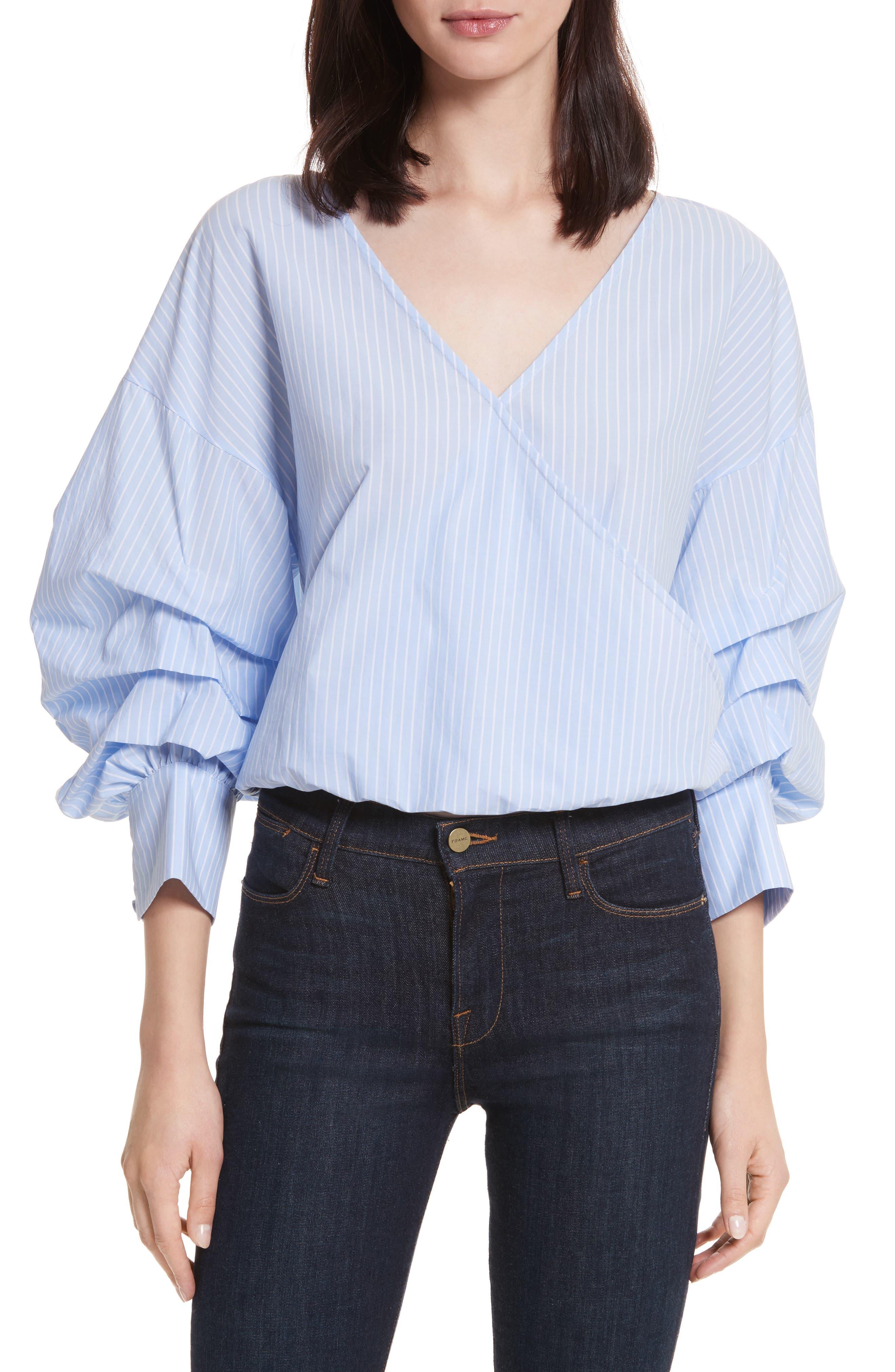 Braelyn Faux Wrap Top,                         Main,                         color, Oxford Blue