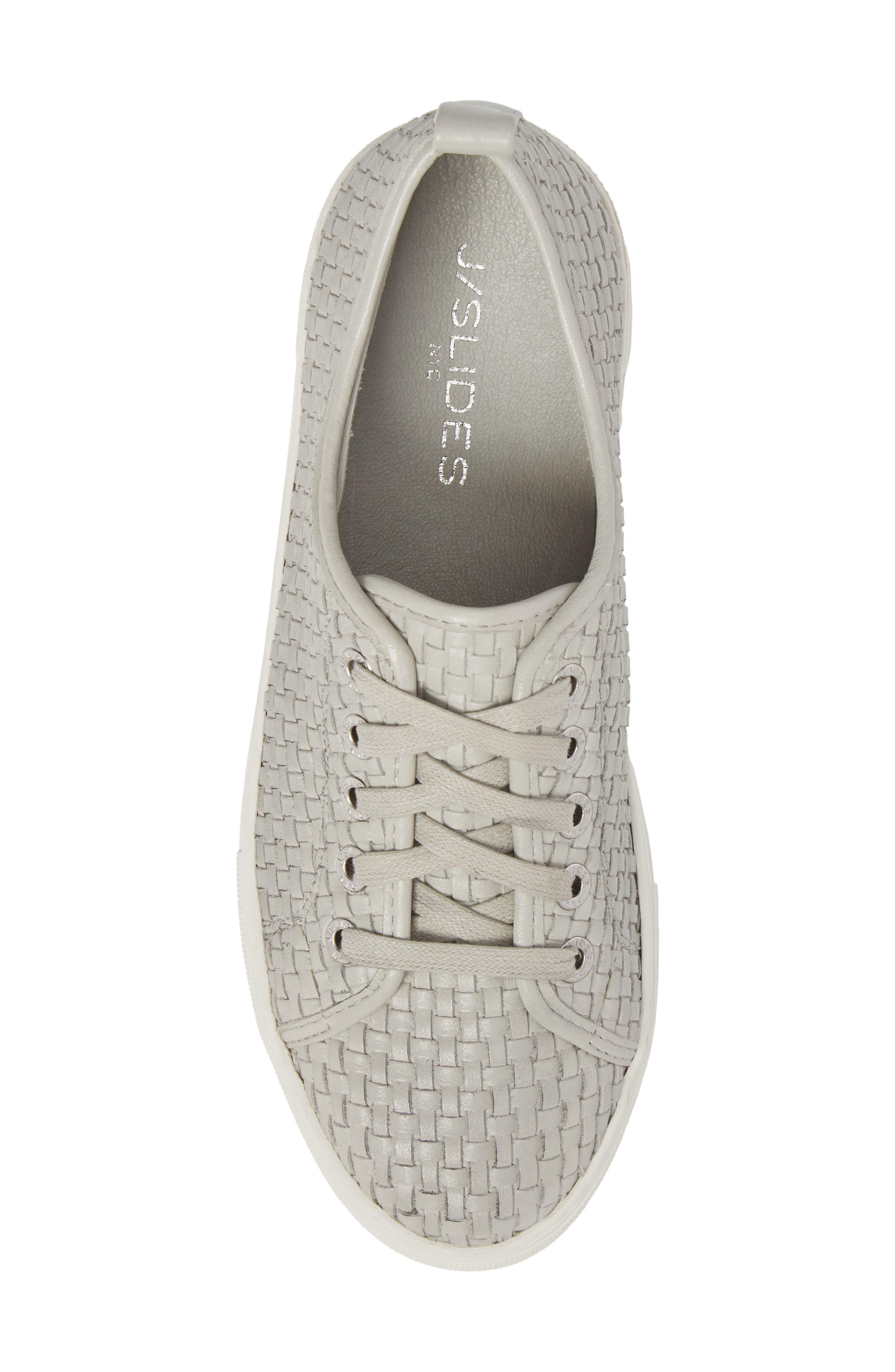 Artsy Woven Platform Sneaker,                             Alternate thumbnail 5, color,                             Pale Grey Leather