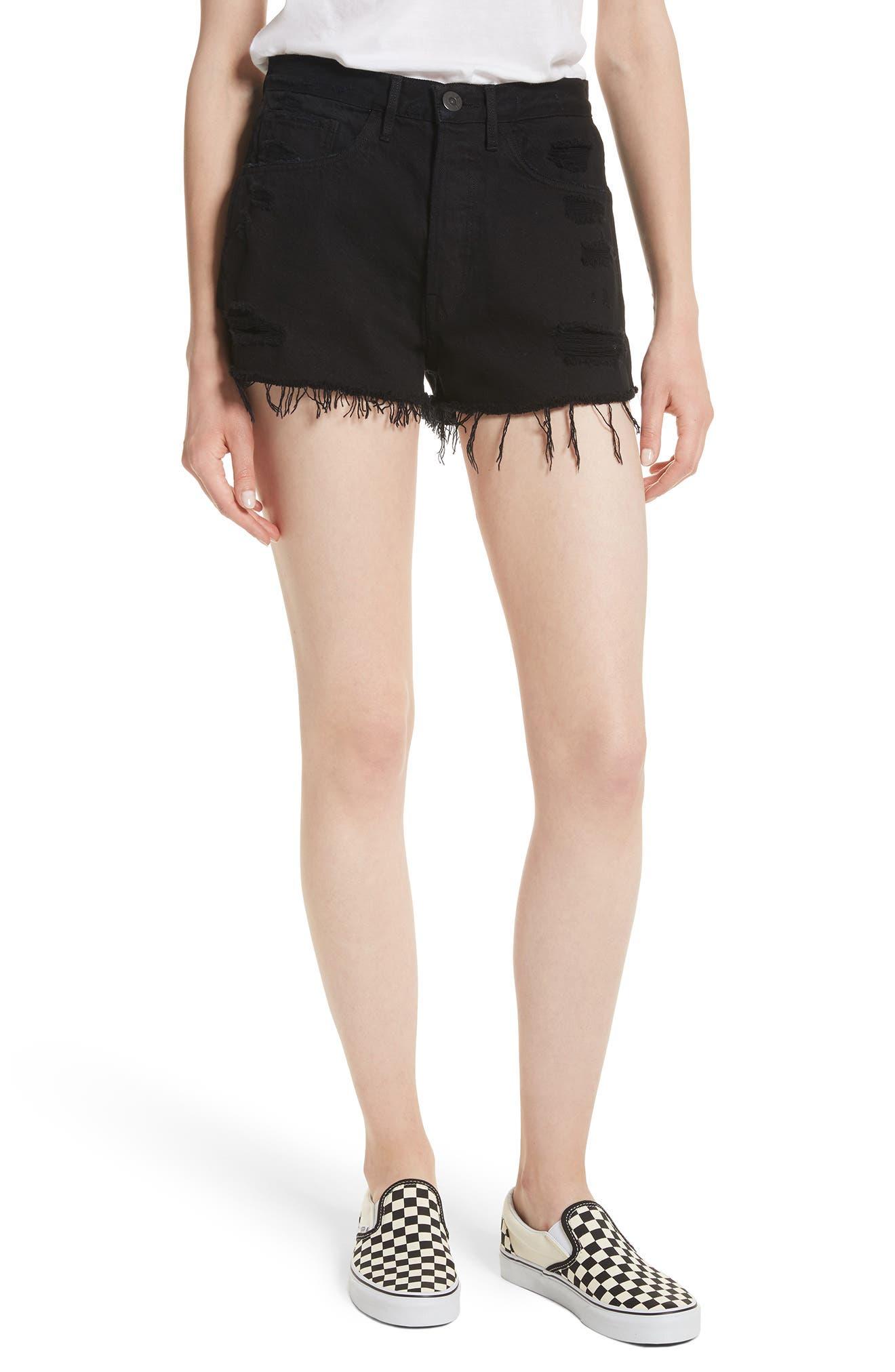 W4 Carter Ripped High Waist Denim Shorts,                         Main,                         color, Carbon