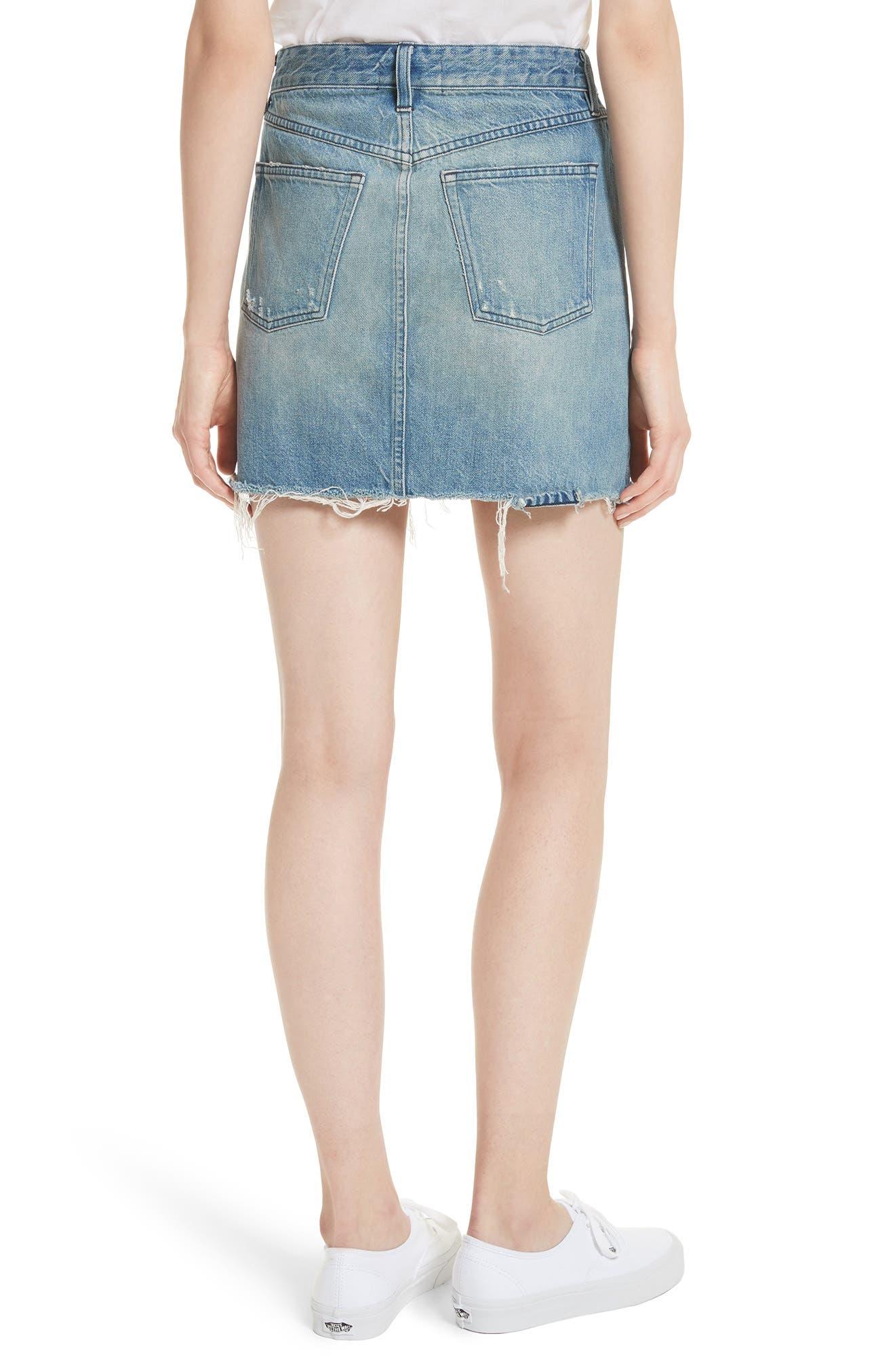 Celine Distressed Denim Skirt,                             Alternate thumbnail 2, color,                             Laz