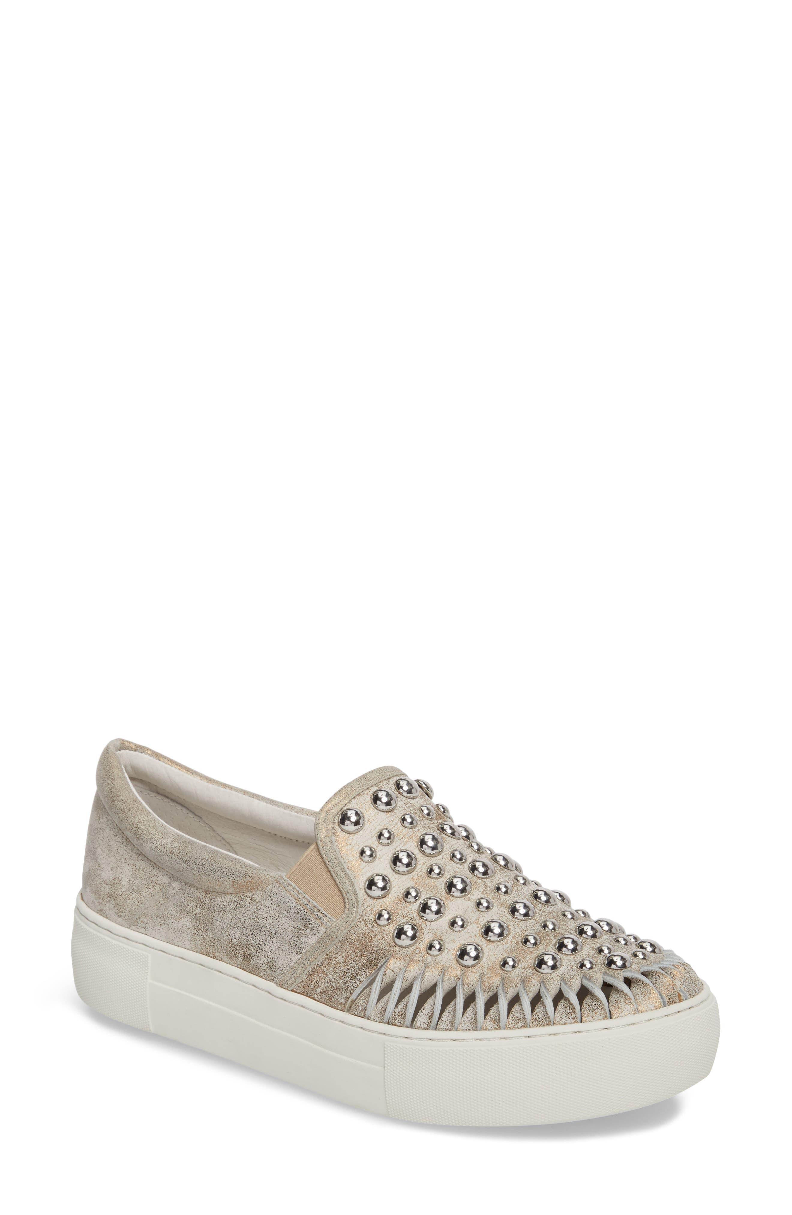 AZT Studded Slip-On Sneaker,                             Main thumbnail 1, color,                             Bronze Leather