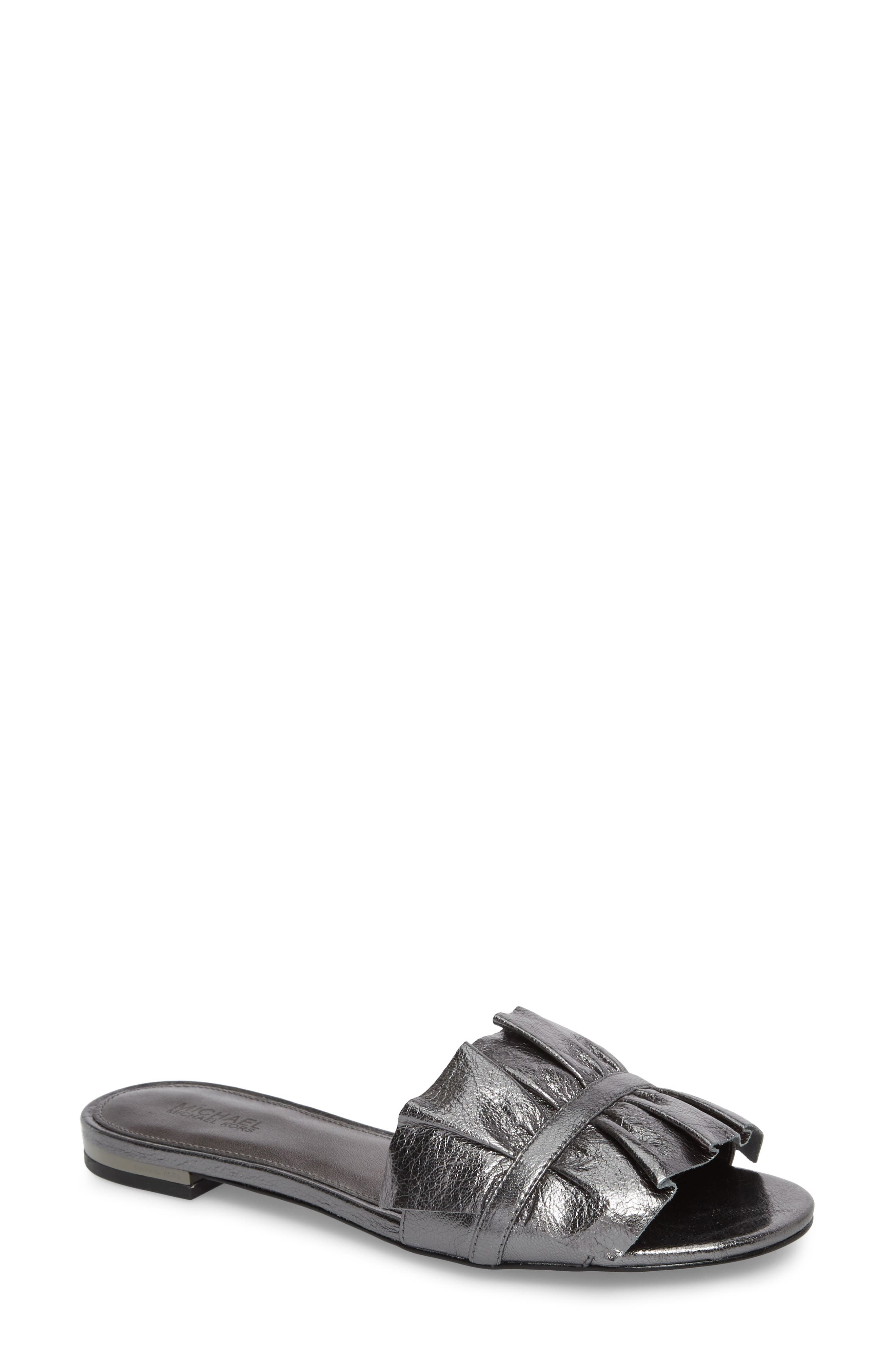 Bella Ruffle Slide Sandal,                         Main,                         color, Gunmetal Nappa Leather