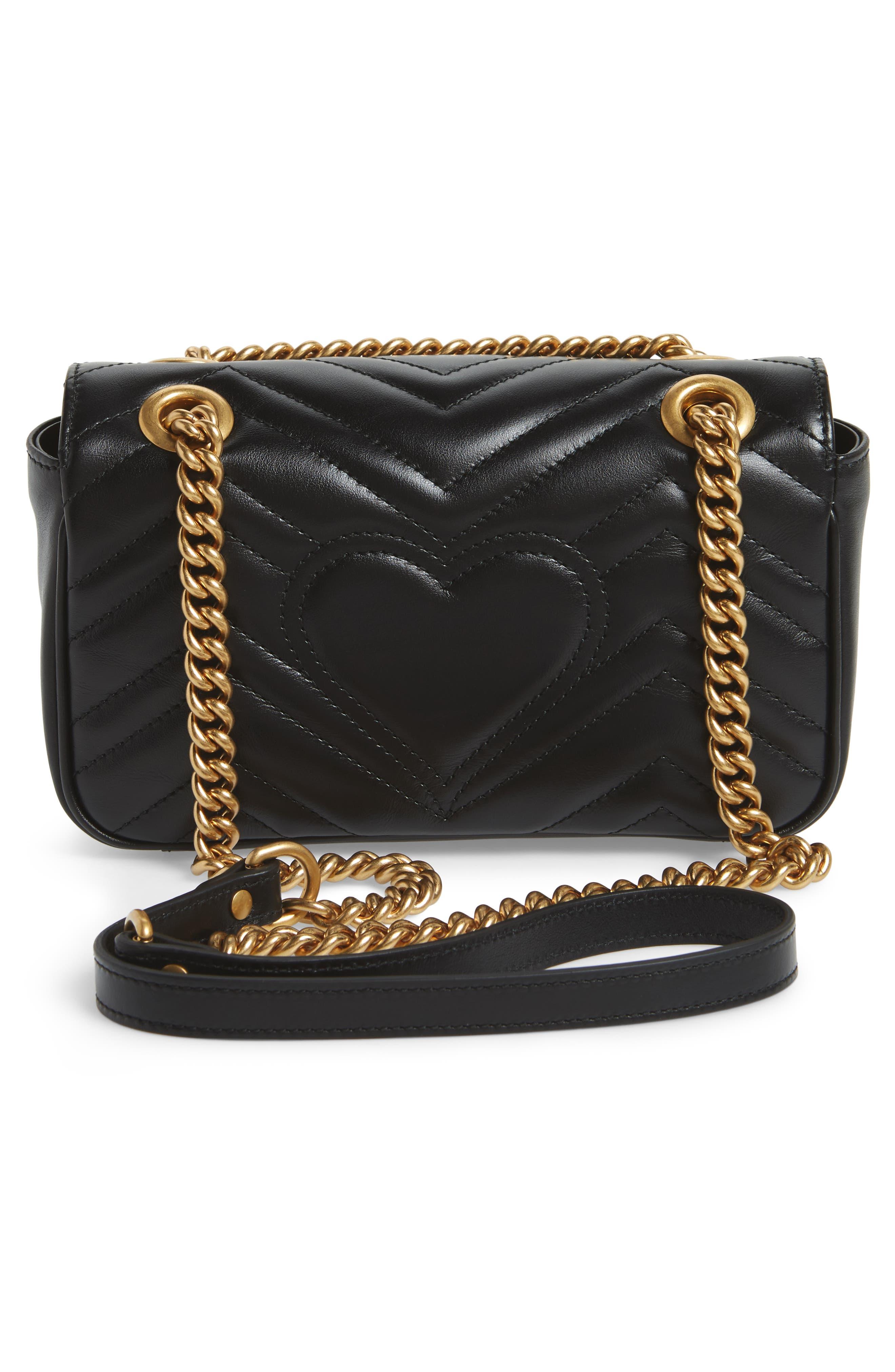 Mini GG Marmont 2.0 Matelassé Leather Shoulder Bag,                             Alternate thumbnail 3, color,                             Nero