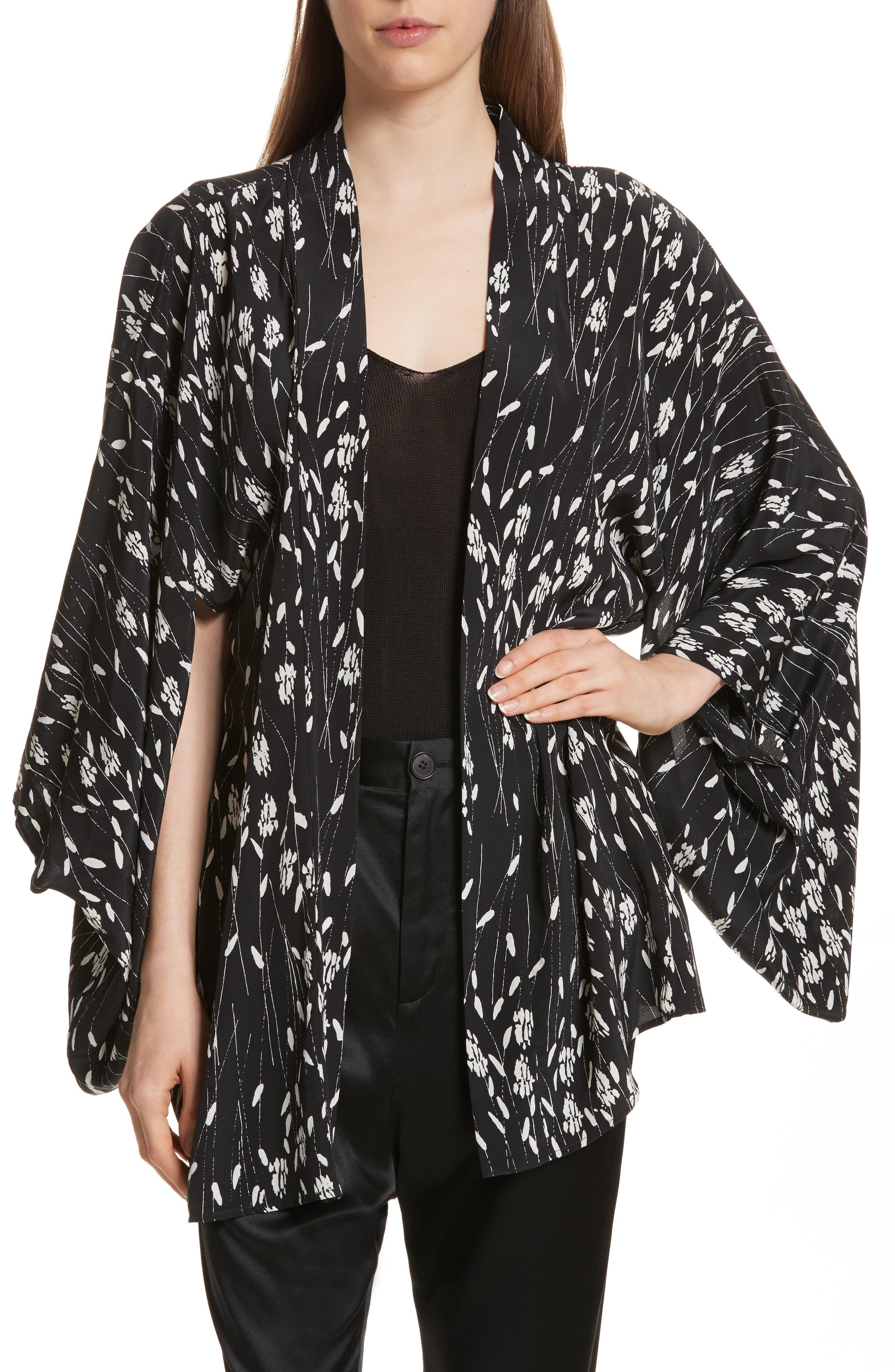 Kima Silk Cover-Up Kimono,                             Main thumbnail 1, color,                             Black