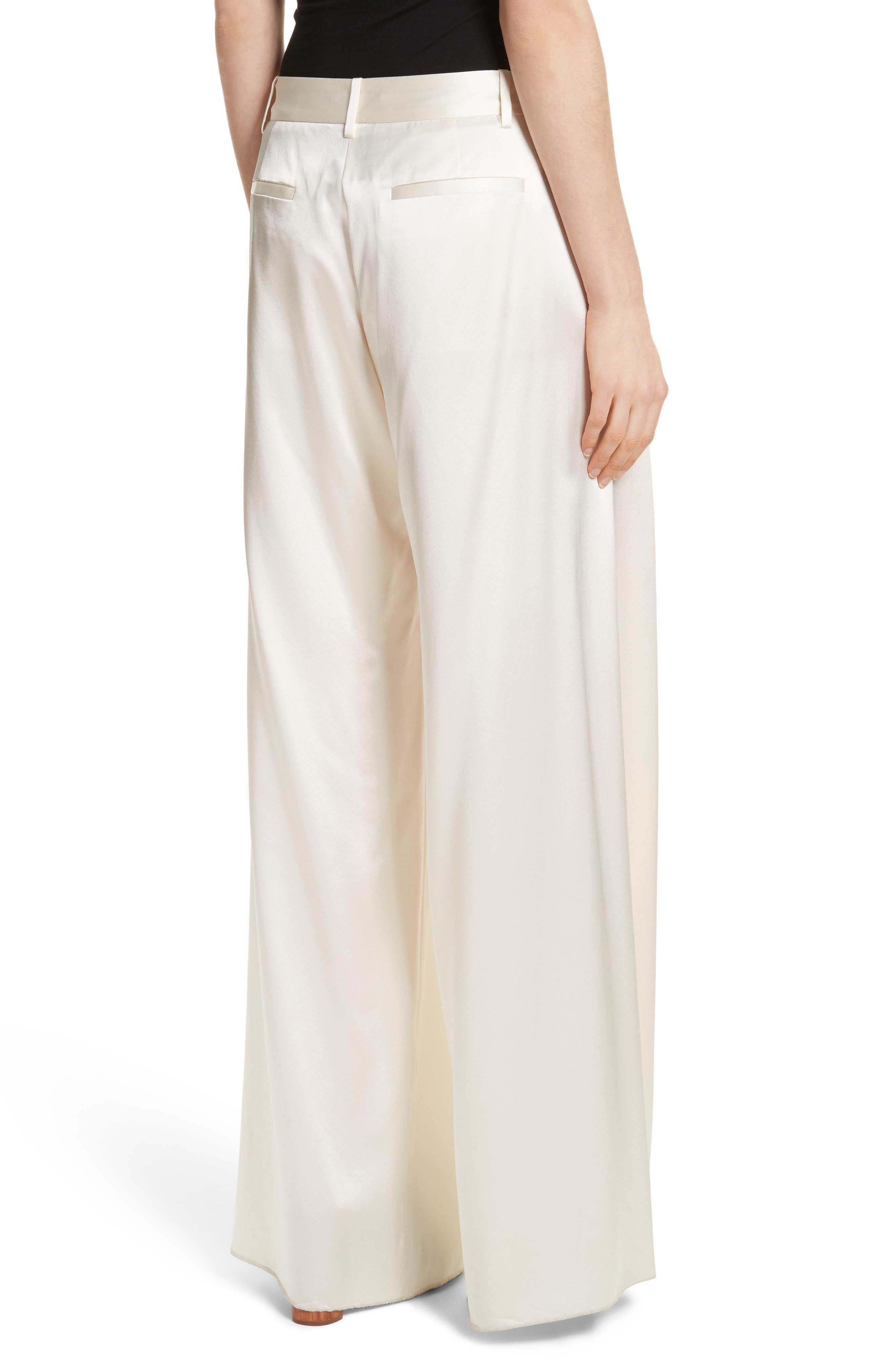 Seville Wide Leg Silk Pants,                             Alternate thumbnail 3, color,                             Ivory