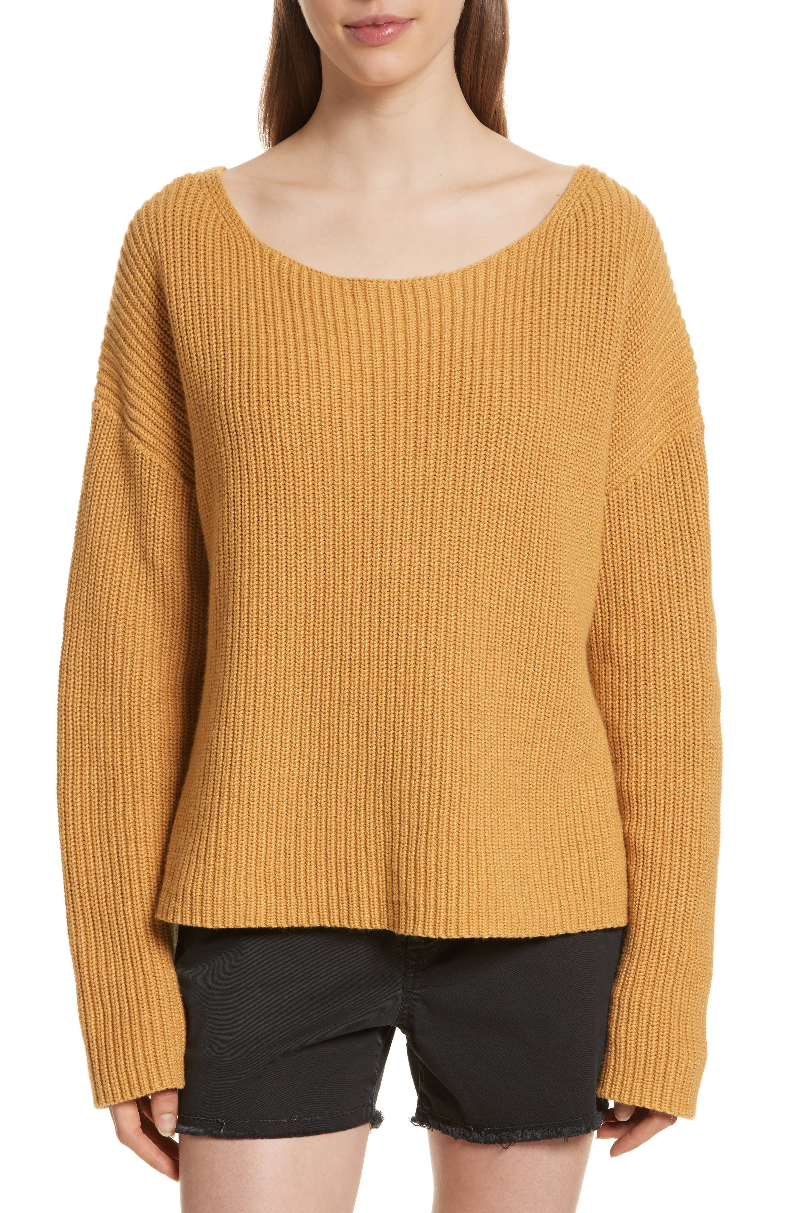Martindale Ribbed Cotton, Cashmere & Silk Sweater,                             Main thumbnail 1, color,                             Mustard