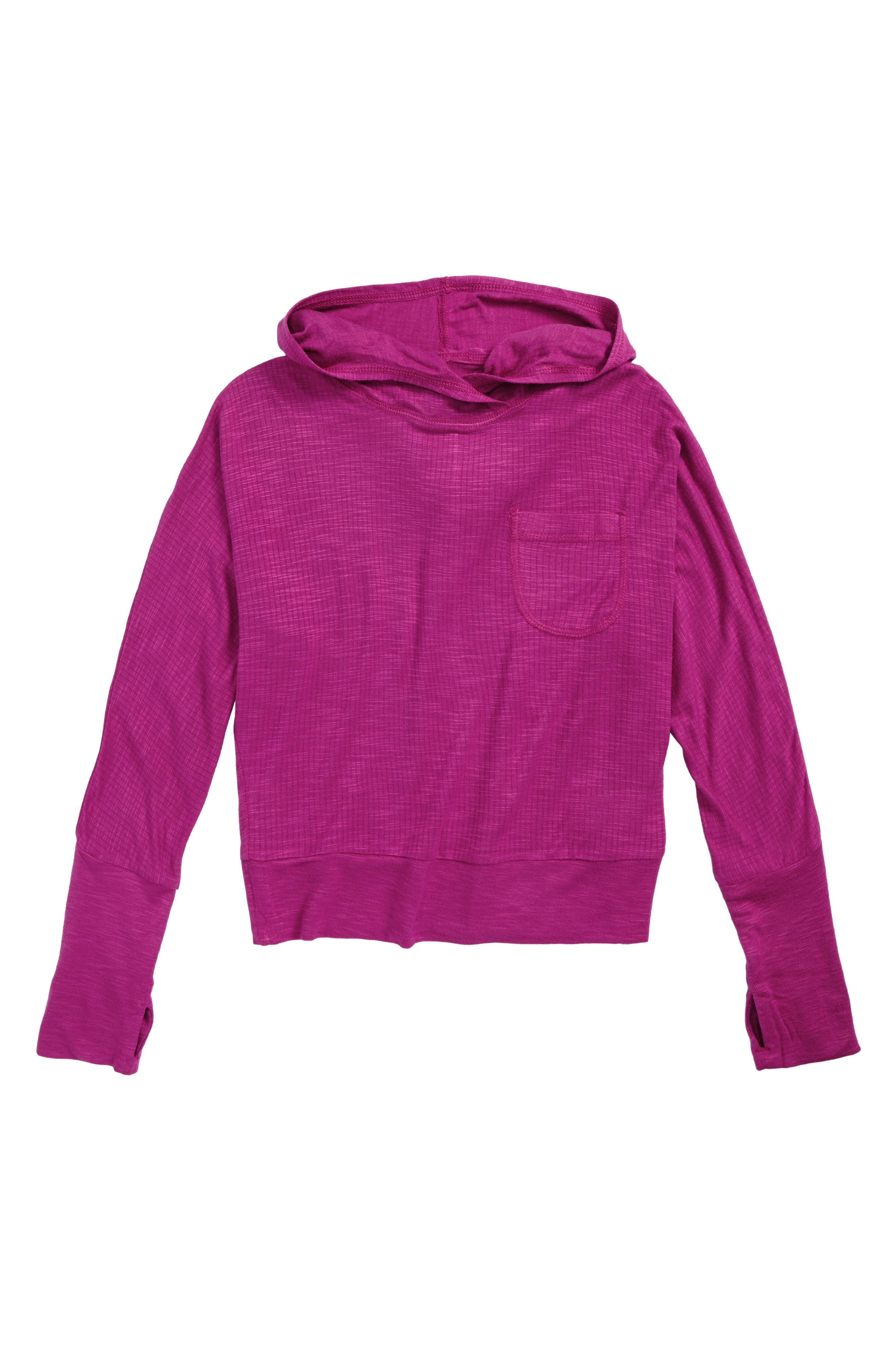 Dolman Hooded Tee,                             Main thumbnail 1, color,                             Pink Wild Aster