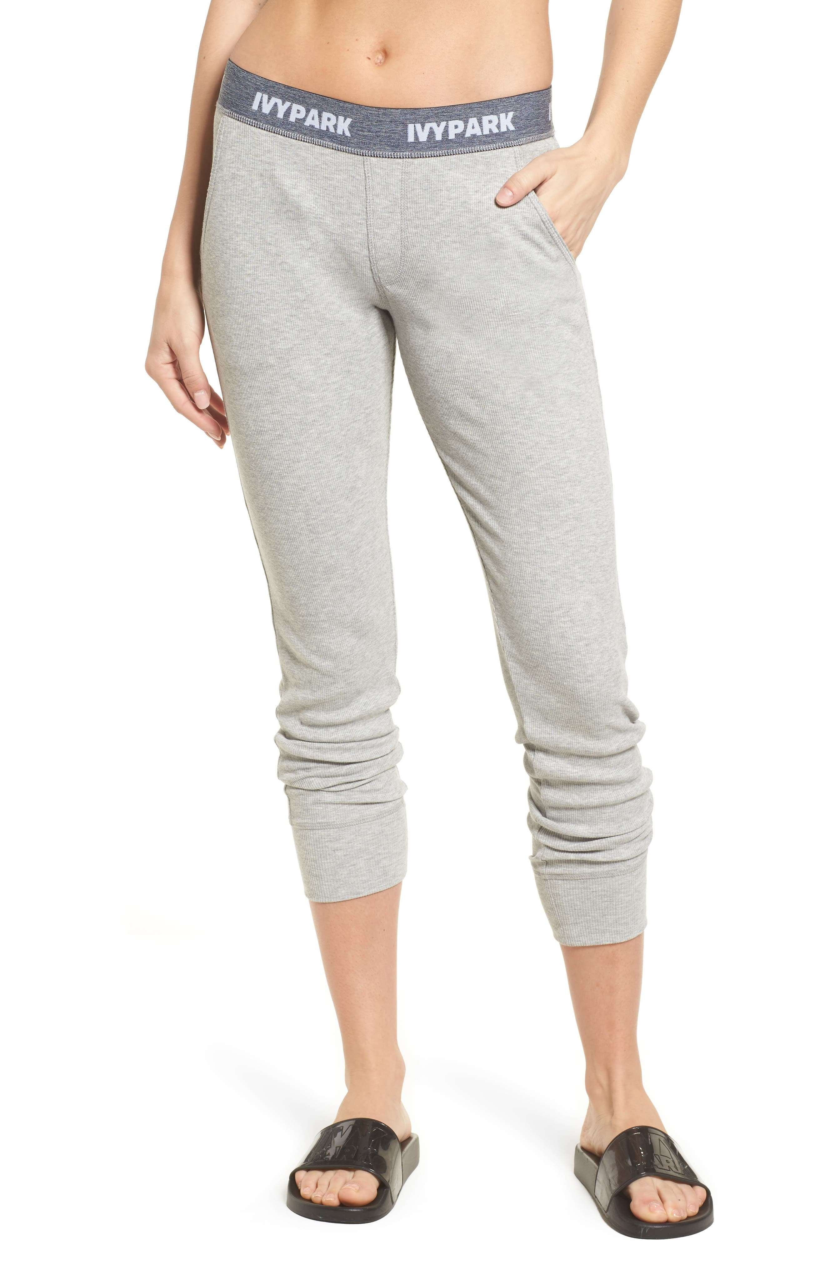 Loose Fit Marl Rib Leggings,                             Main thumbnail 1, color,                             Grey Marl