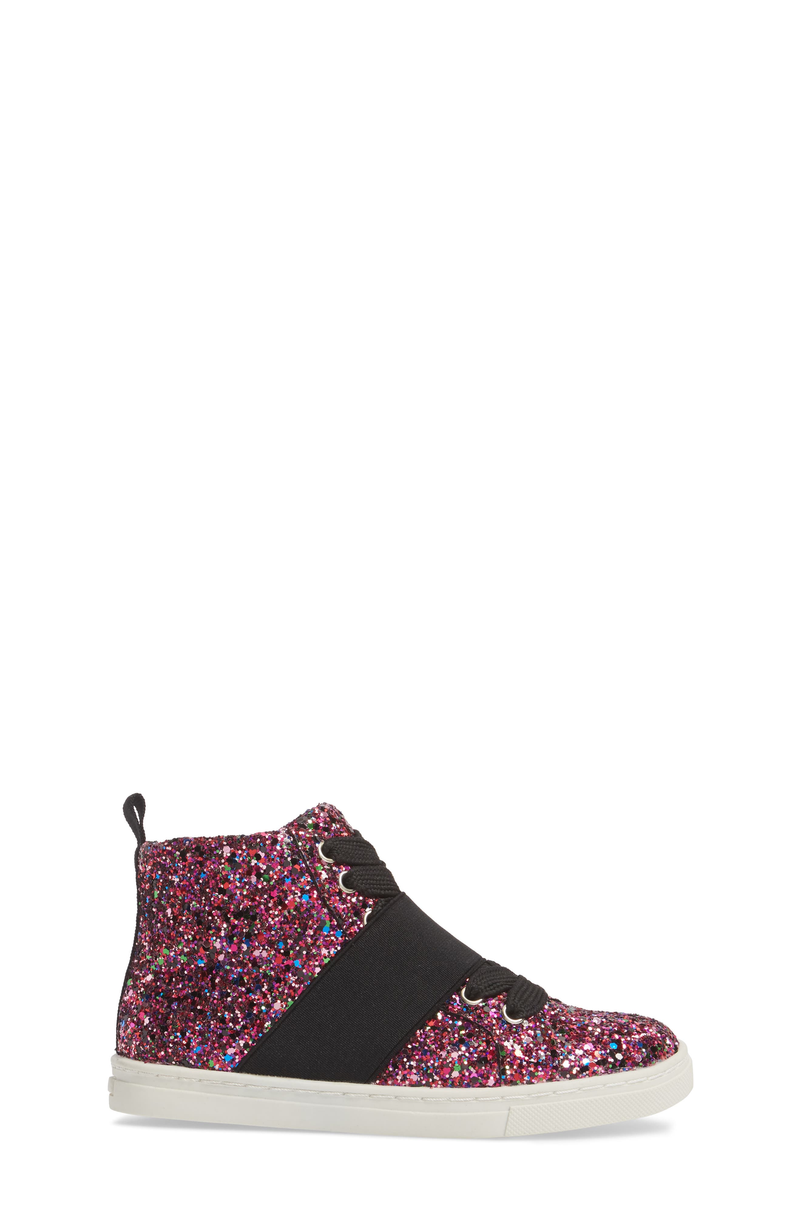 Zoa High Top Sneaker,                             Alternate thumbnail 3, color,                             Fuchsia Glitter