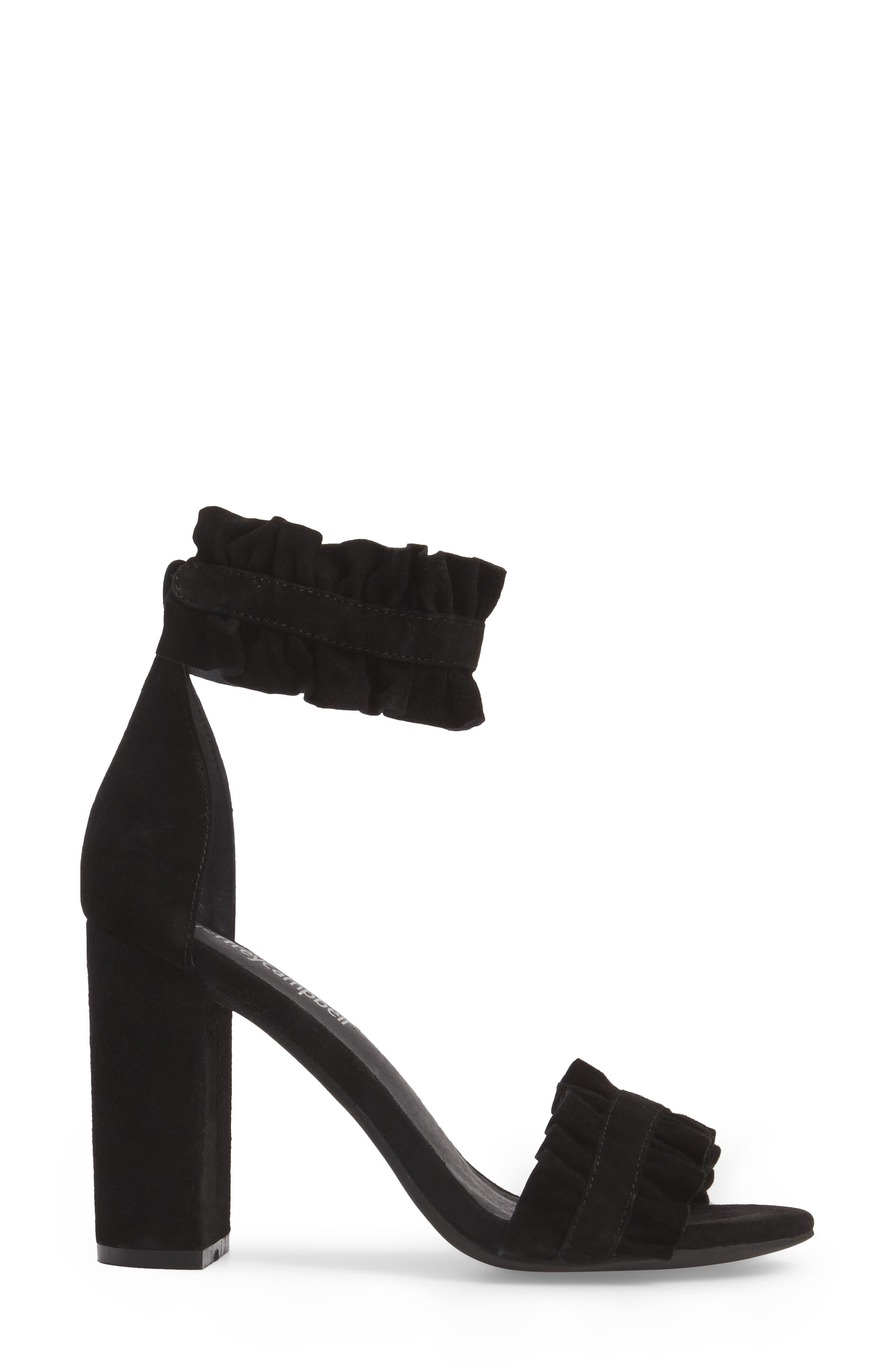 Lindsay Dome Studded Sandal,                             Alternate thumbnail 3, color,                             Black Suede