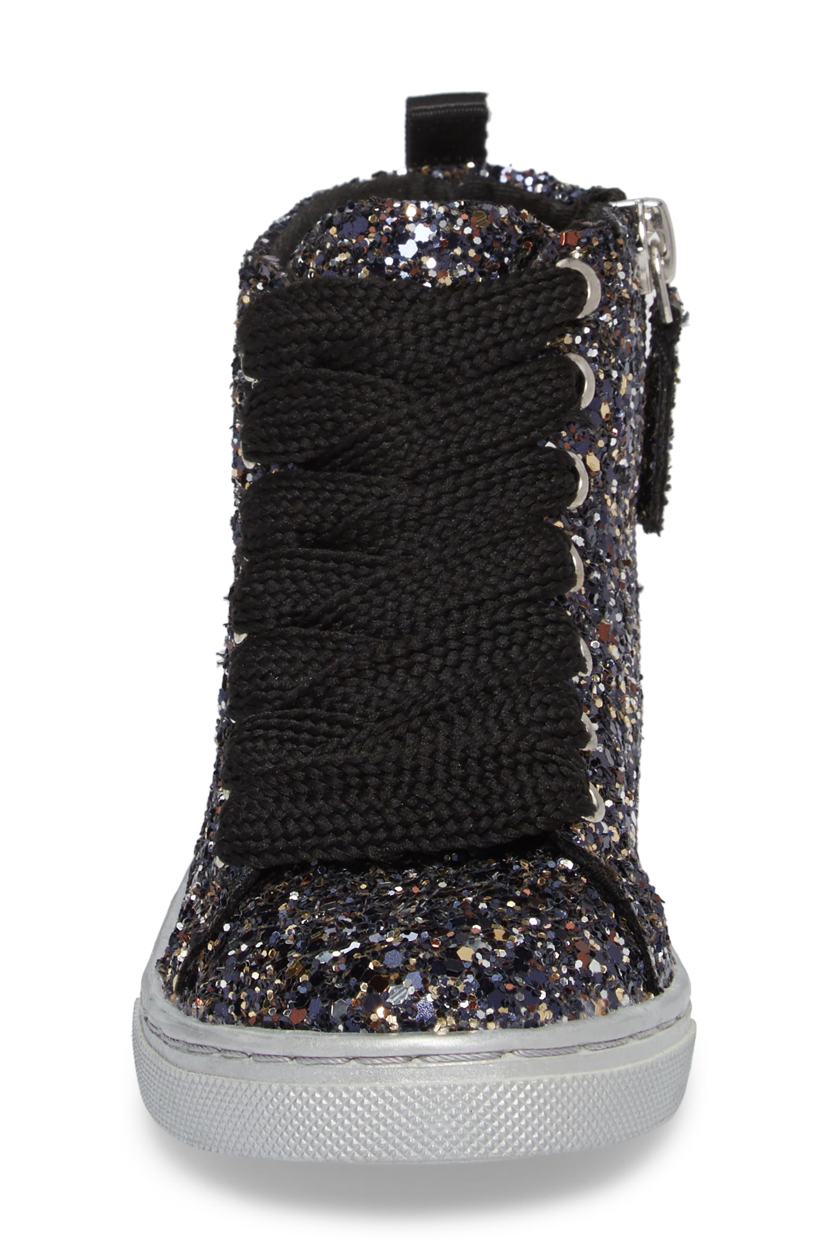 Zaine Glittery High Top Sneaker,                             Alternate thumbnail 4, color,                             Black Multi Glitter