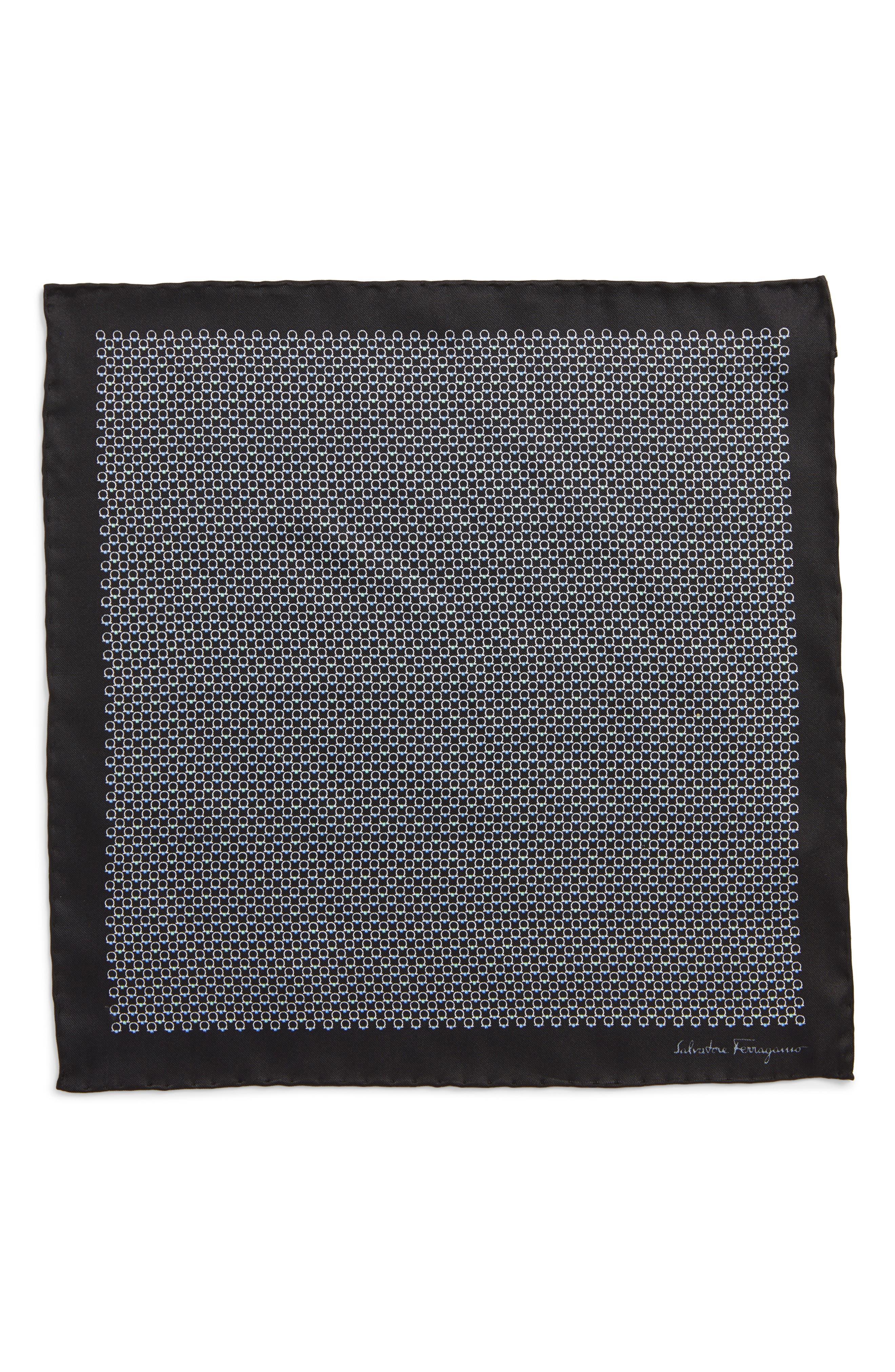 Energia Medallion Silk Pocket Square,                             Alternate thumbnail 3, color,                             Black