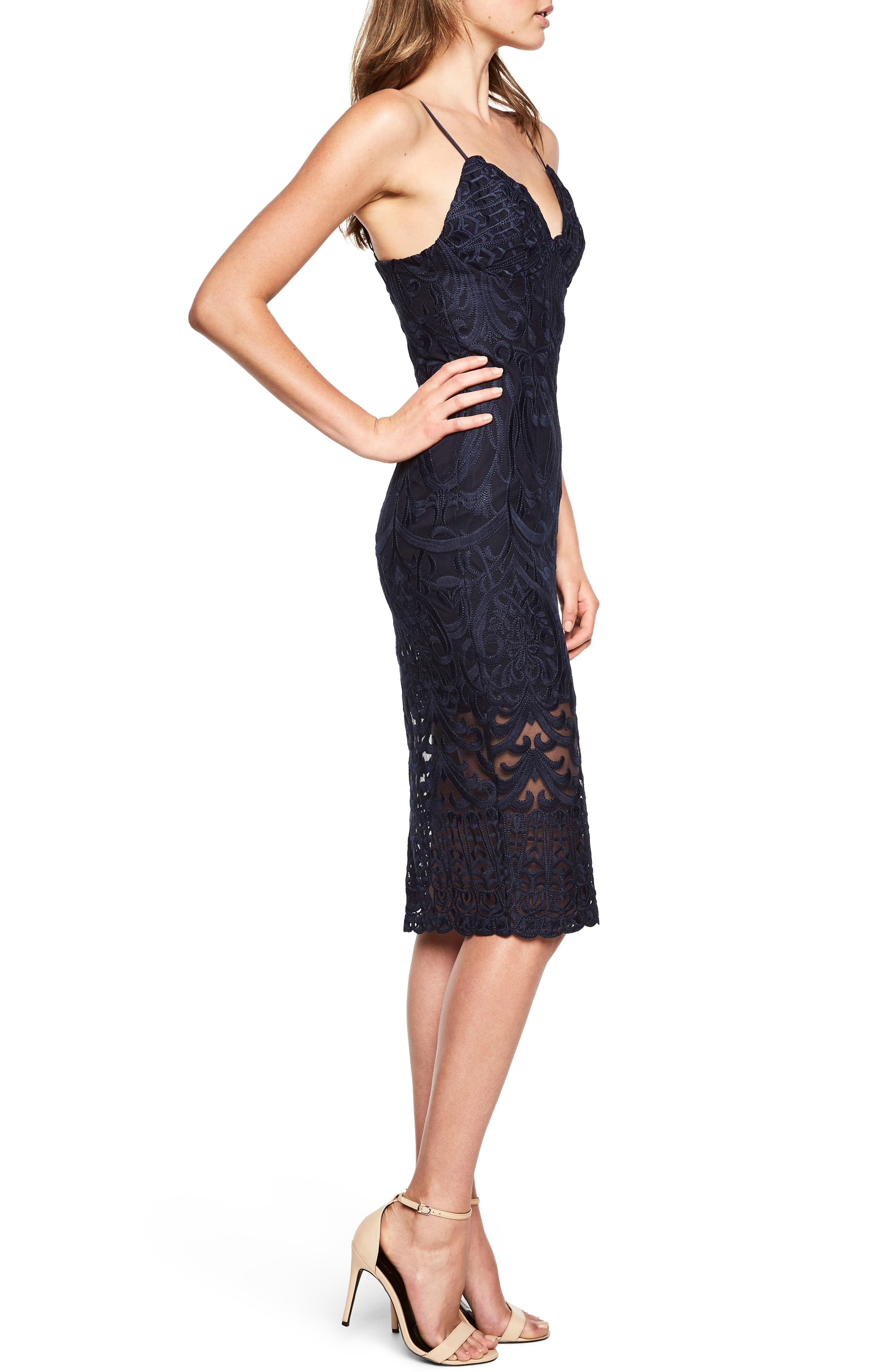 Gia Lace Pencil Dress,                             Alternate thumbnail 3, color,                             Navy