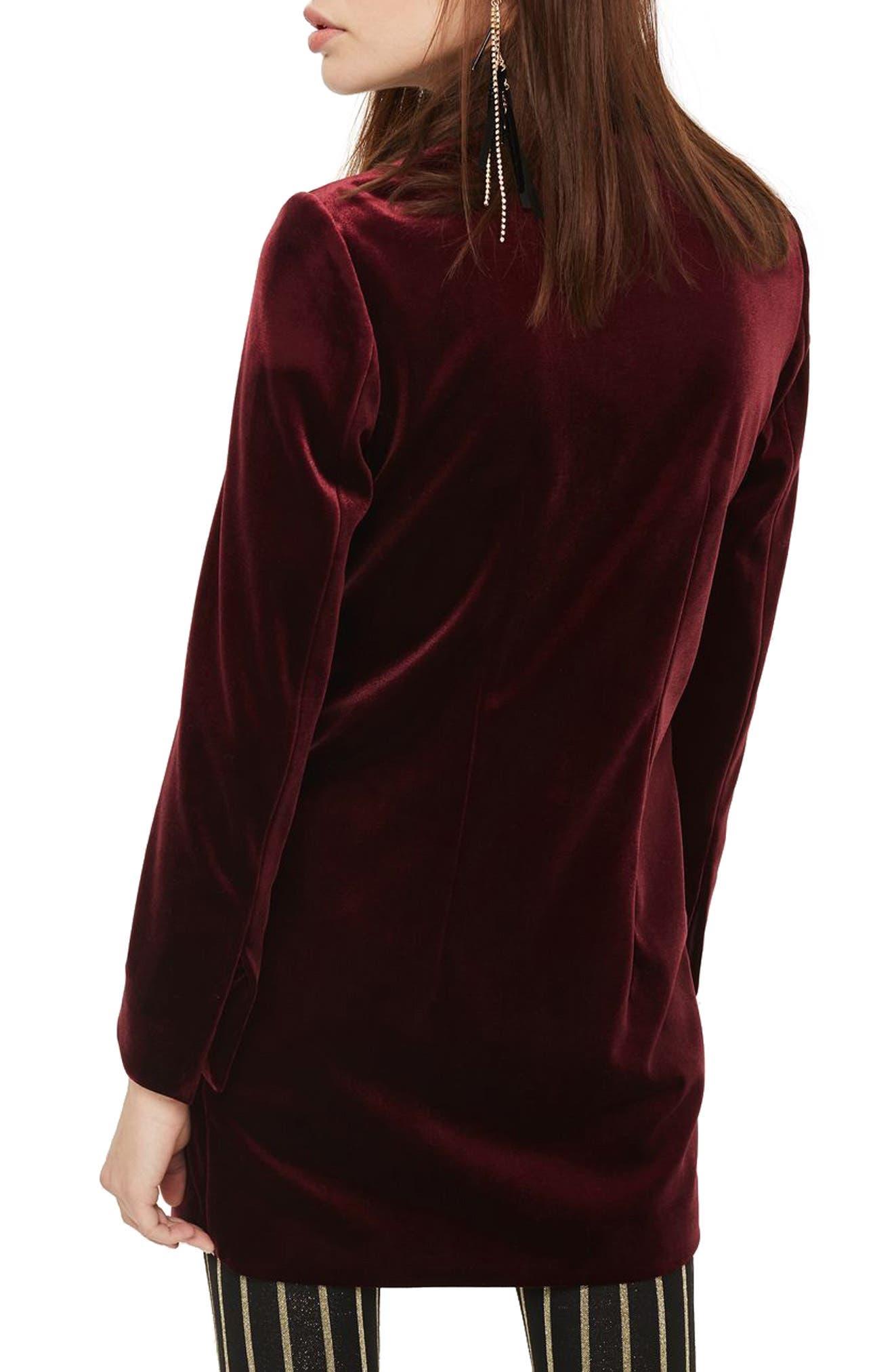 Alternate Image 3  - Topshop Double Breasted Velvet Blazer Dress