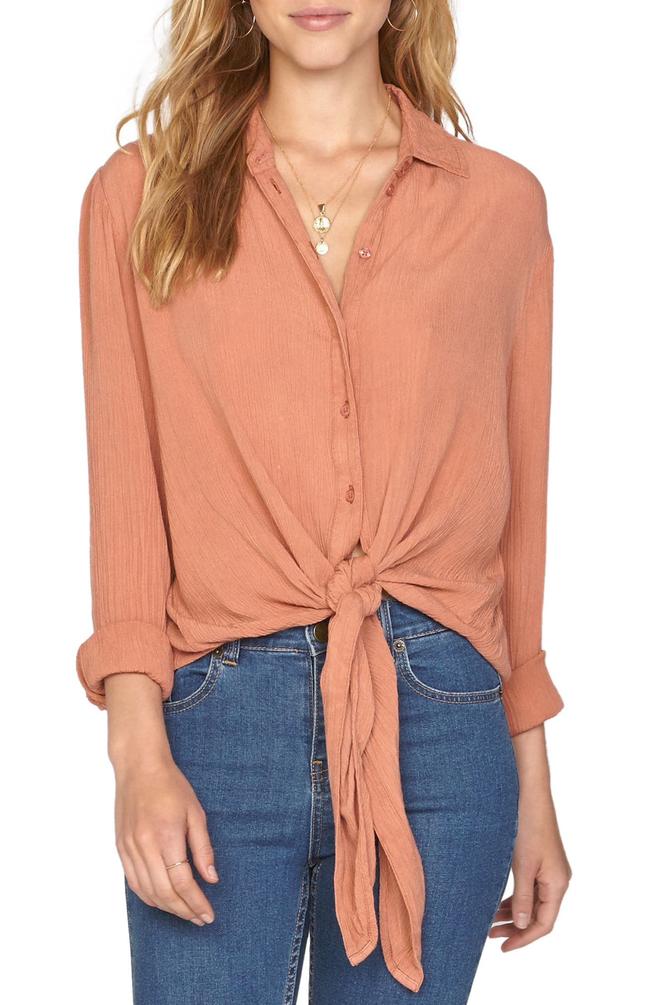 C'est La Vie Knotted Shirt,                         Main,                         color, Rose Dawn