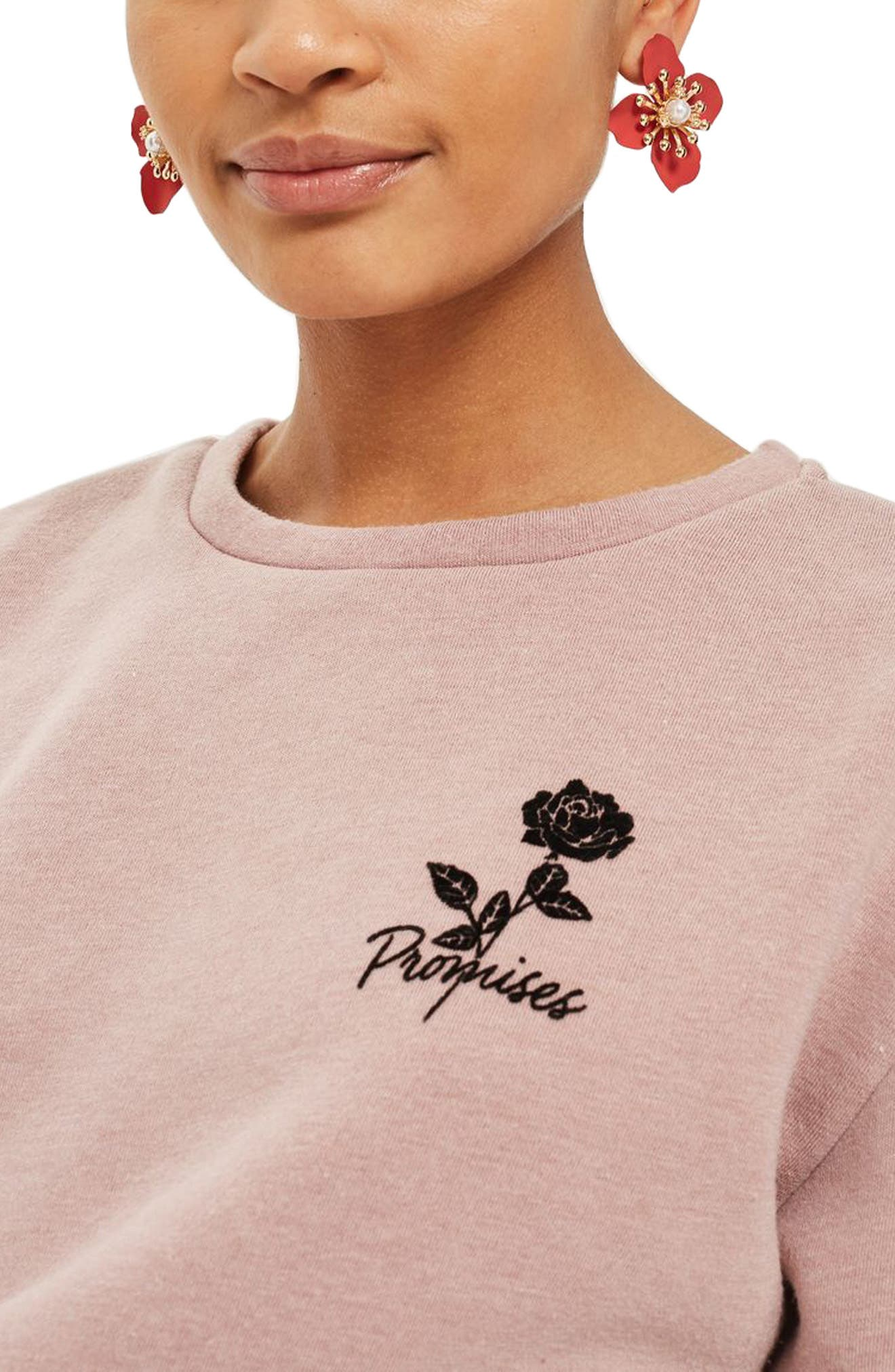 Alternate Image 3  - Topshop Promises Crop Sweatshirt