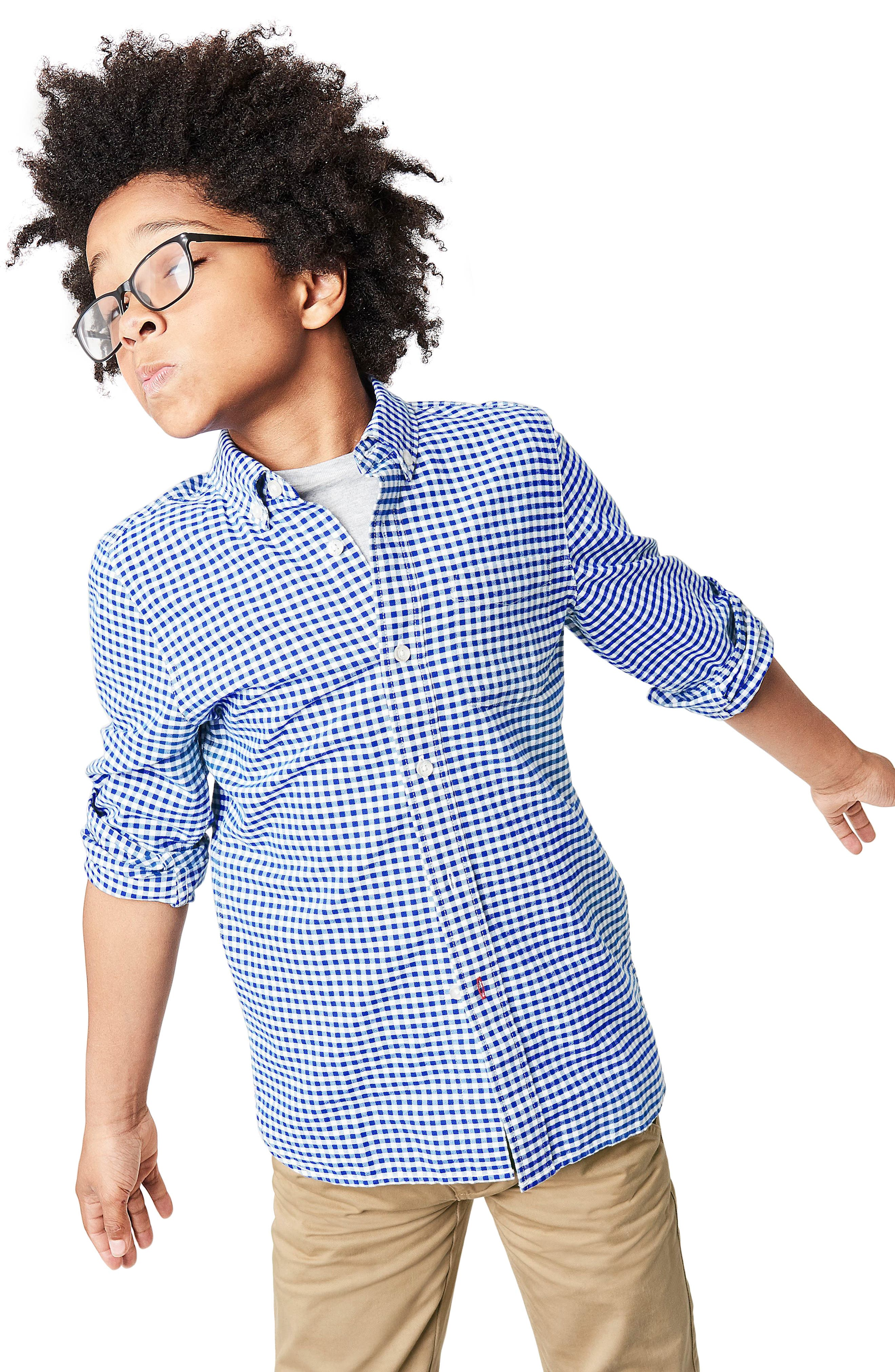 Gingham Oxford Shirt,                             Alternate thumbnail 2, color,                             Orion Blue Gingham