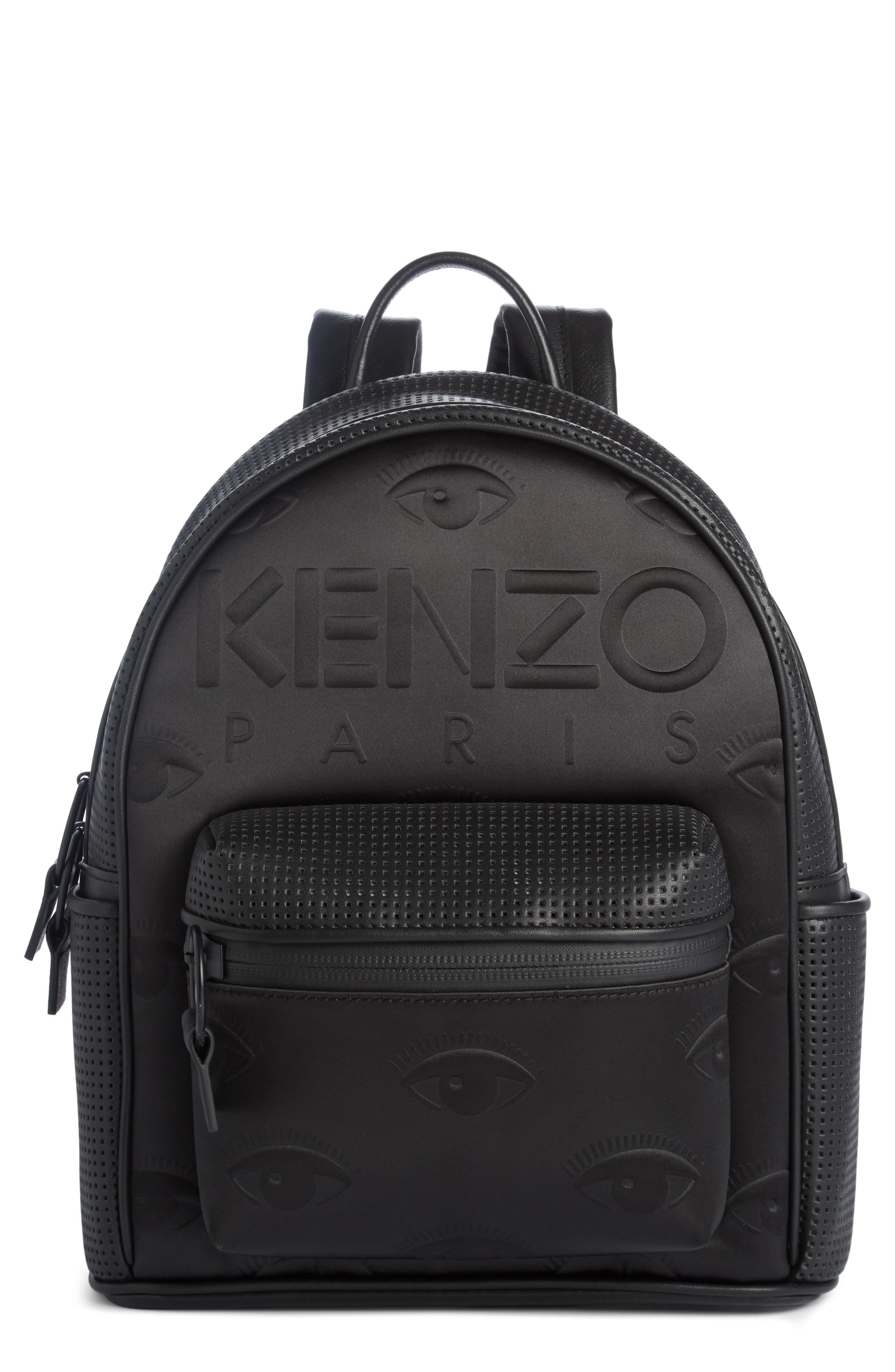 Eyes Perforated Nylon Backpack,                         Main,                         color, Black