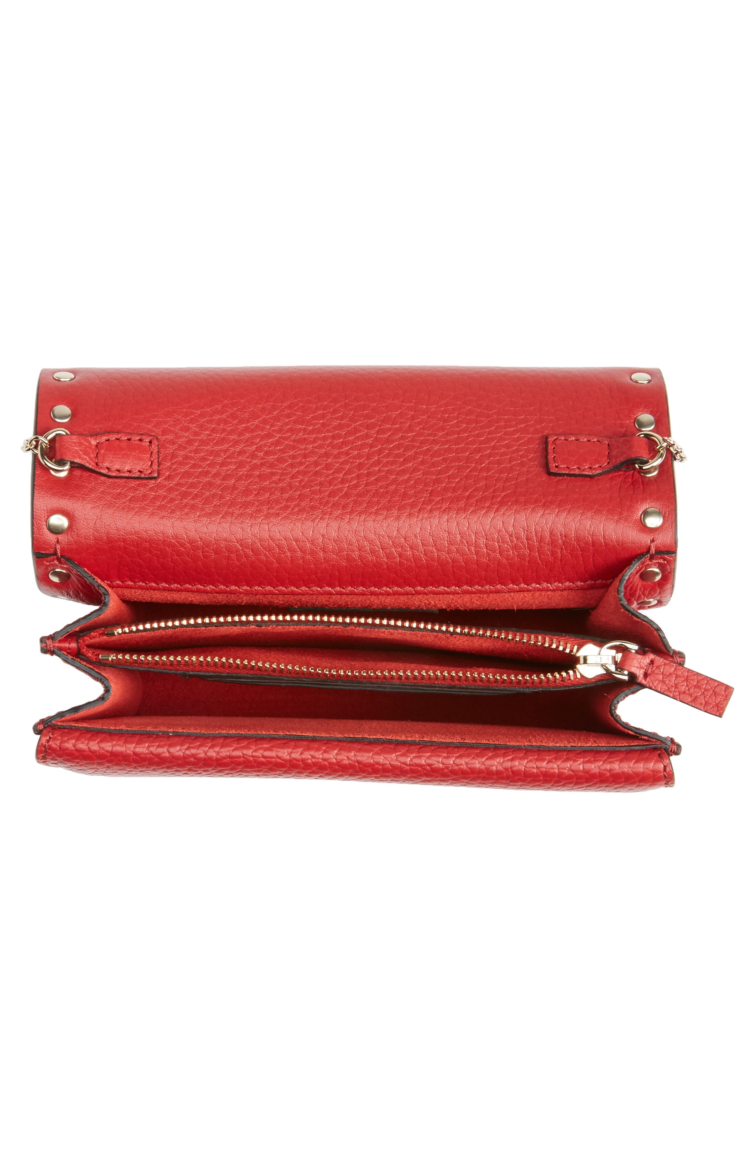 Rockstud Leather Pouch Wallet on a Chain,                             Alternate thumbnail 4, color,                             Rossa