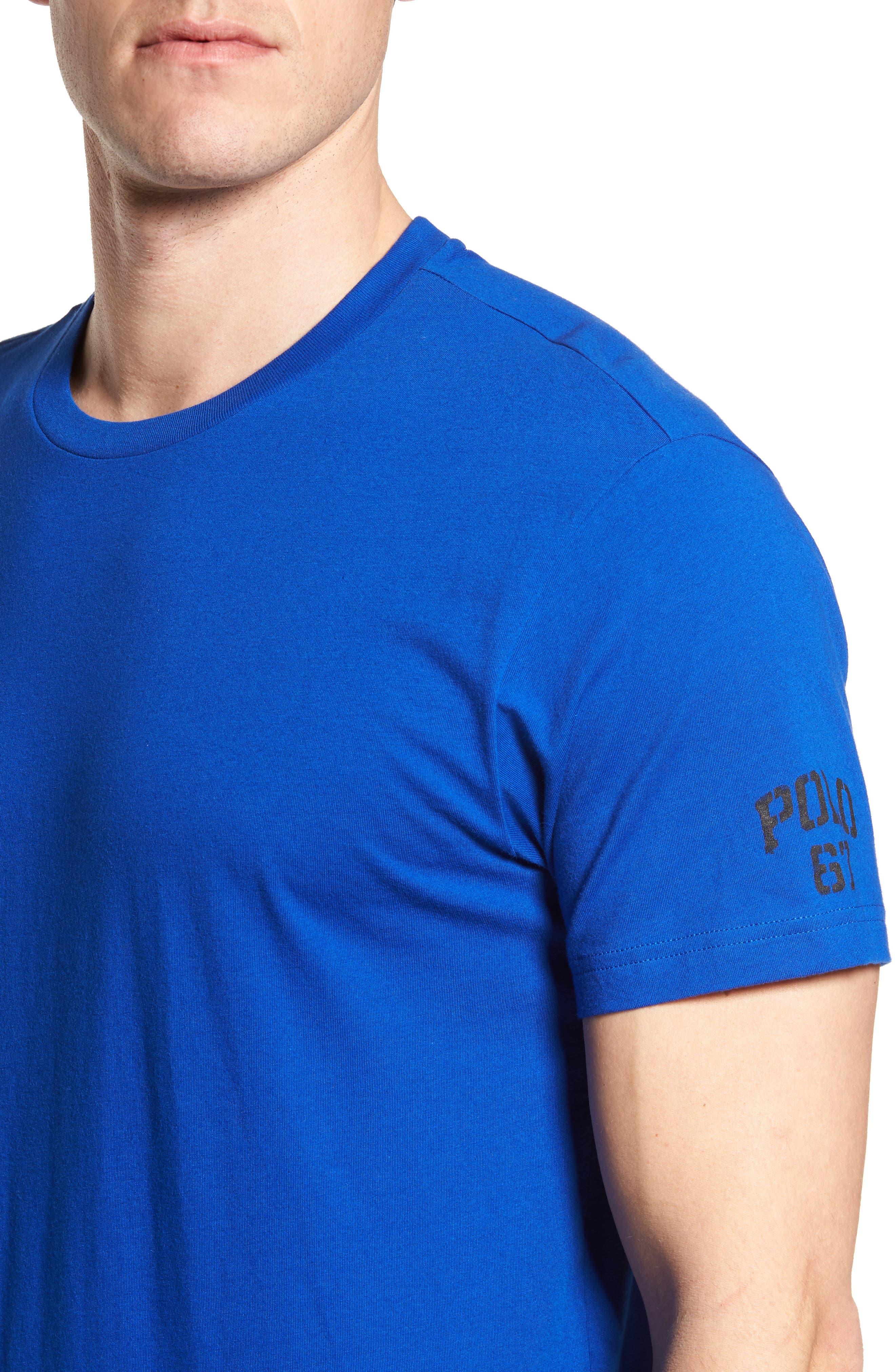 Polo Ralph Lauren Crewneck T-Shirt,                             Alternate thumbnail 4, color,                             Sapphire Star/ Crescent Cream