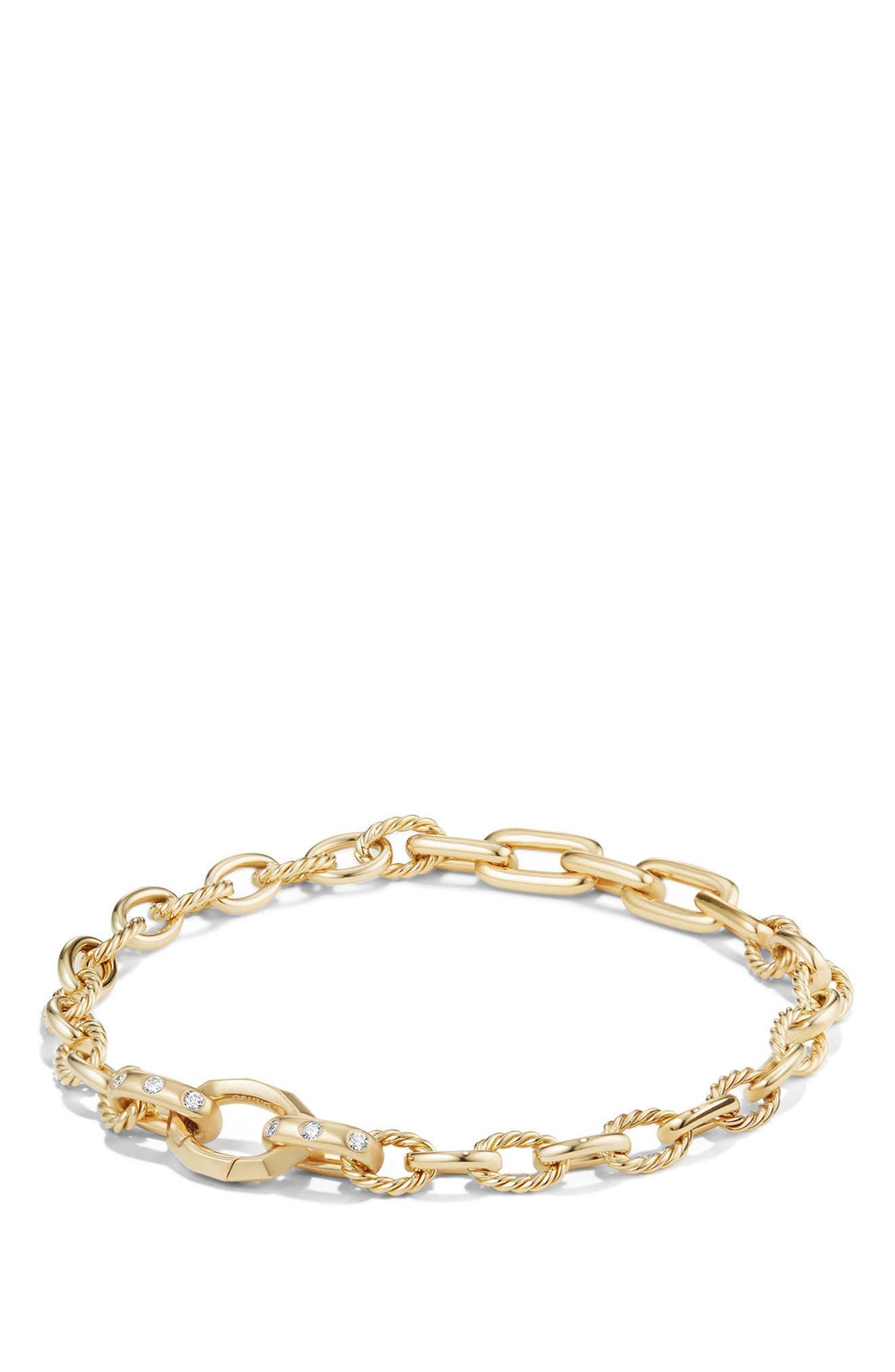 David Yurman Stax Chain Bracelet with Diamonds in 18K Gold