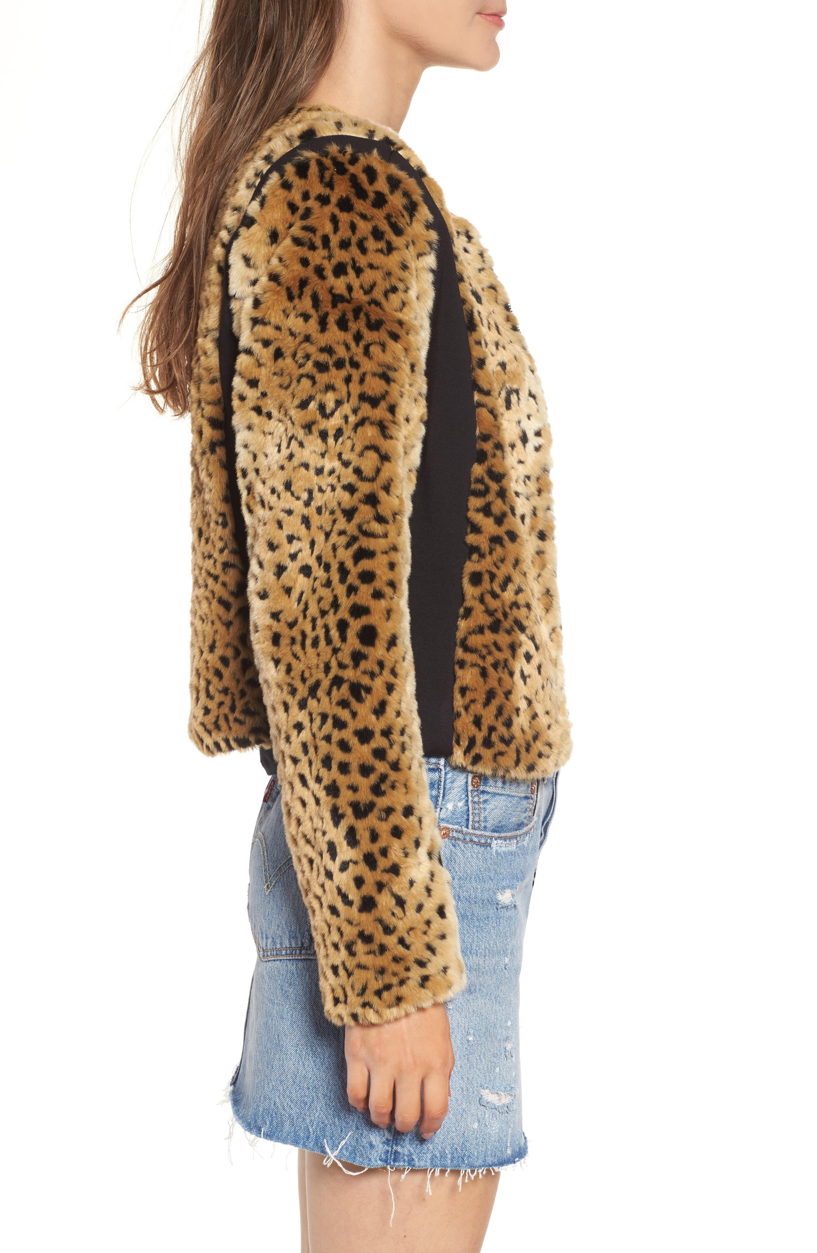 Faux Fur Leopard Jacket,                             Alternate thumbnail 4, color,                             Beige/ Black
