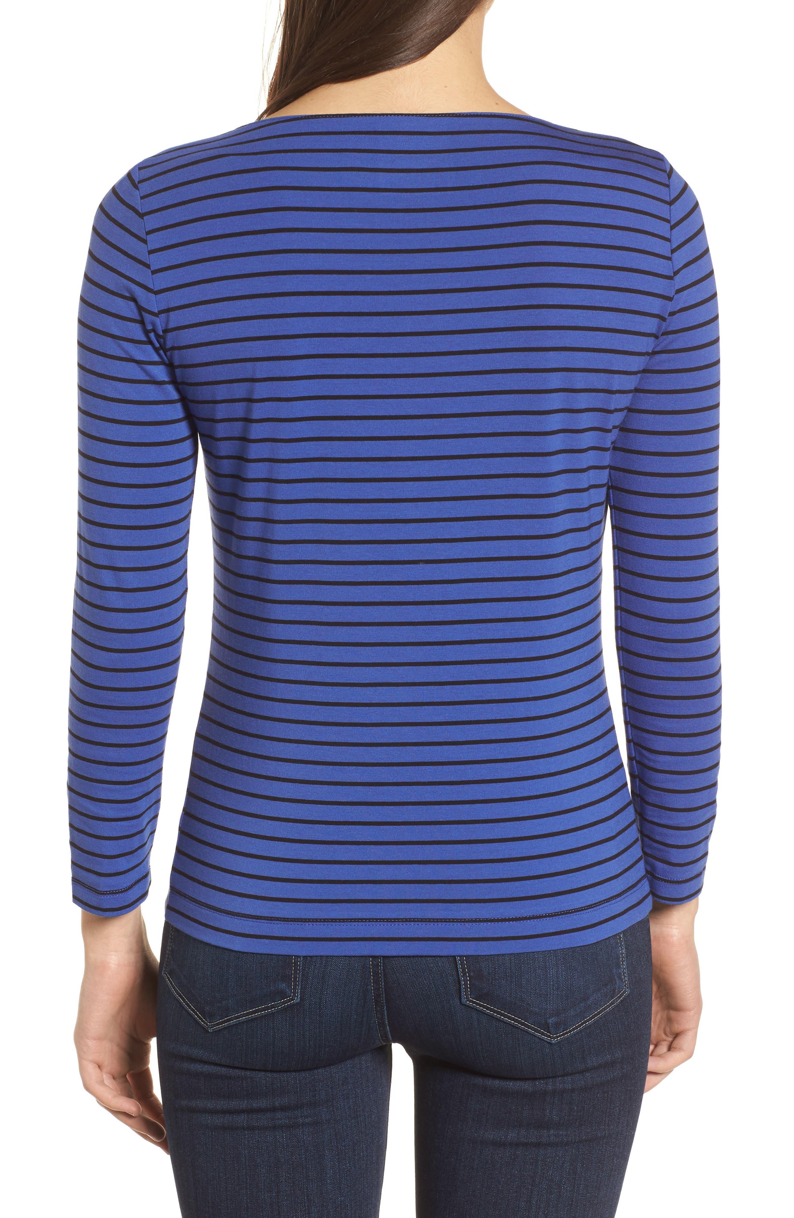Stripe Knit Boatneck Top,                             Alternate thumbnail 2, color,                             Okeeffe Blue/ Black