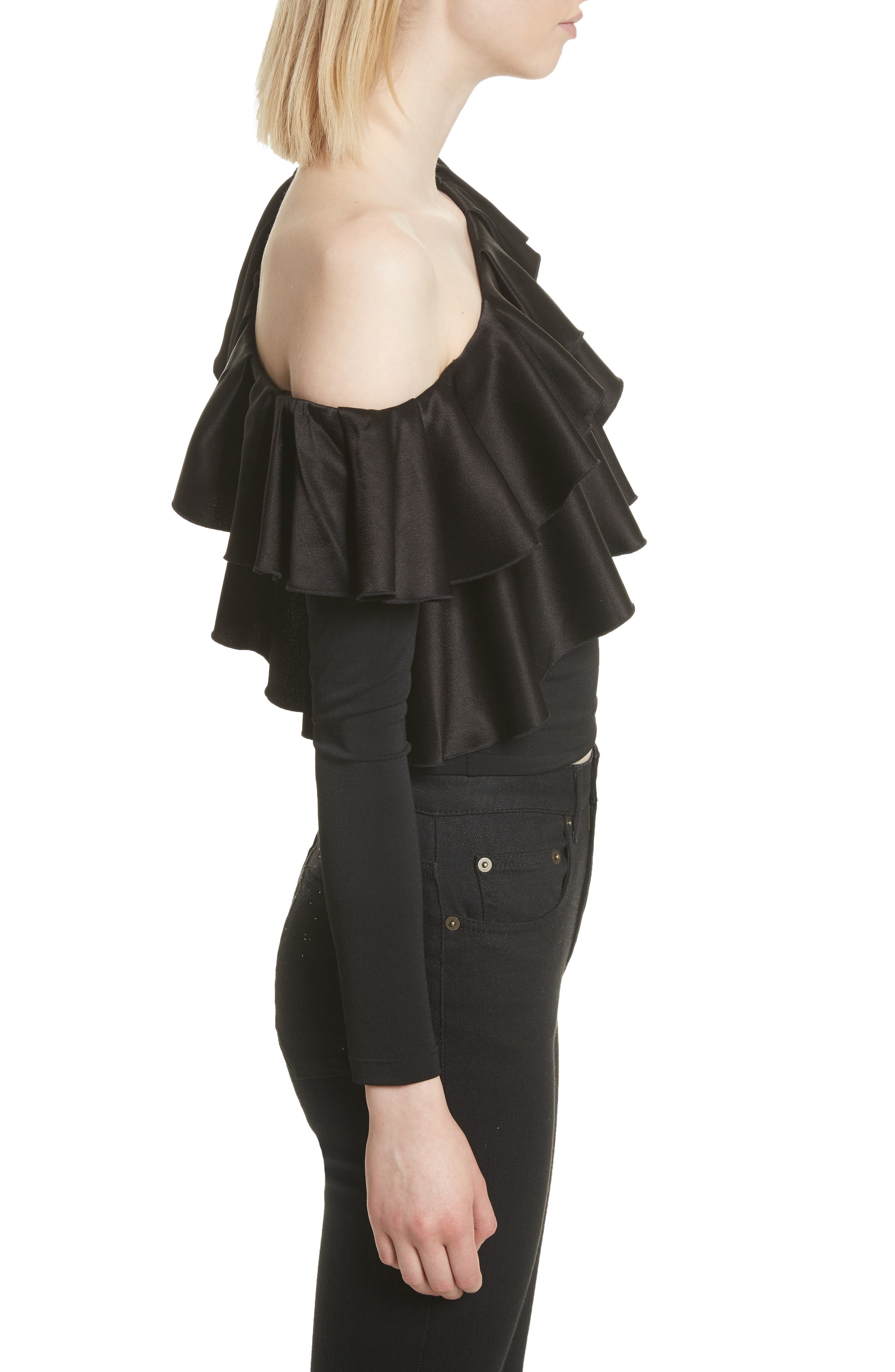 Izzy One-Shoulder Ruffle Crop Top,                             Alternate thumbnail 3, color,                             Black