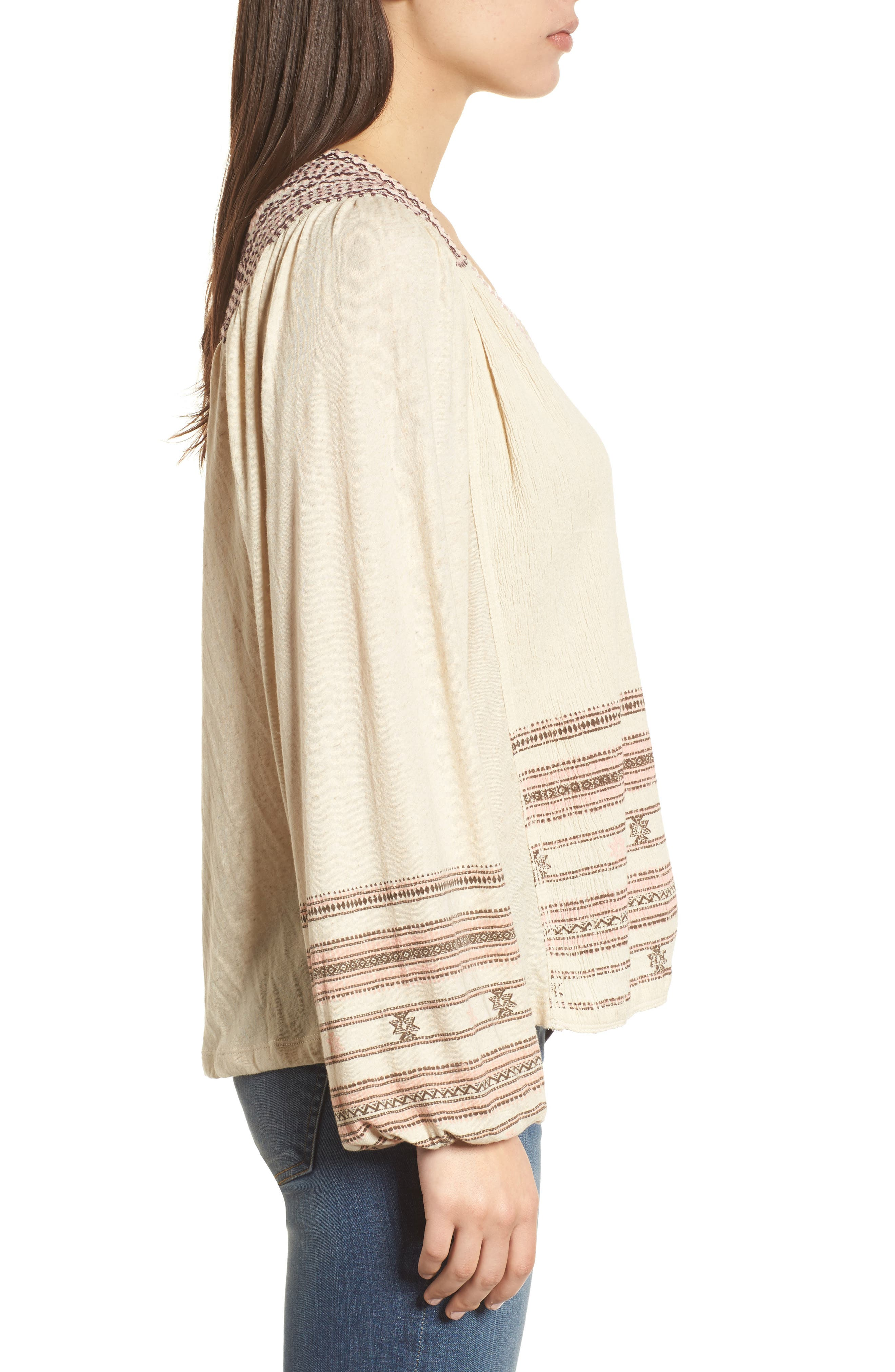 Market Embroidered Peasant Blouse,                             Alternate thumbnail 3, color,                             Natural