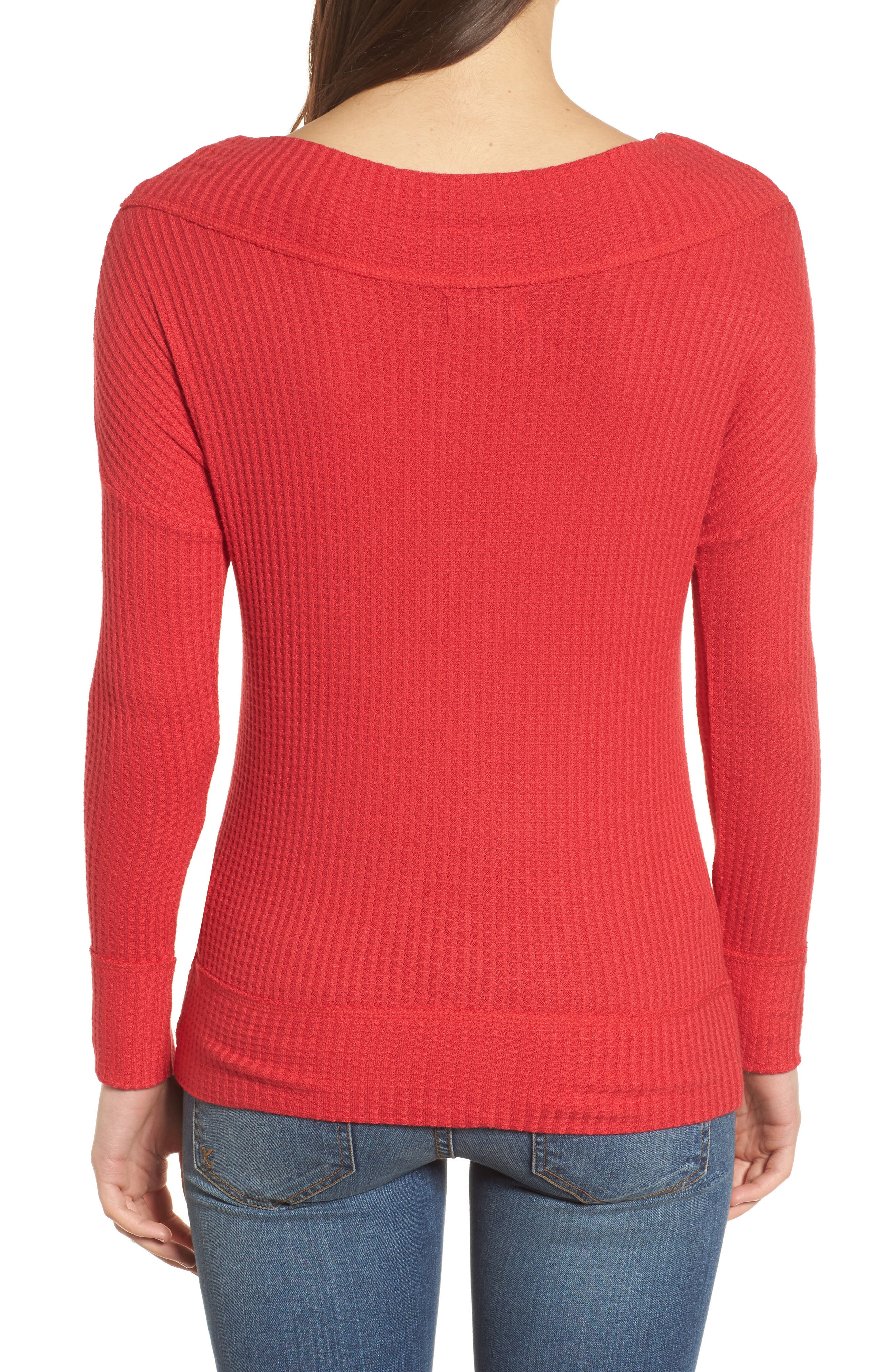 Off the Shoulder Thermal Knit Top,                             Alternate thumbnail 2, color,                             Red
