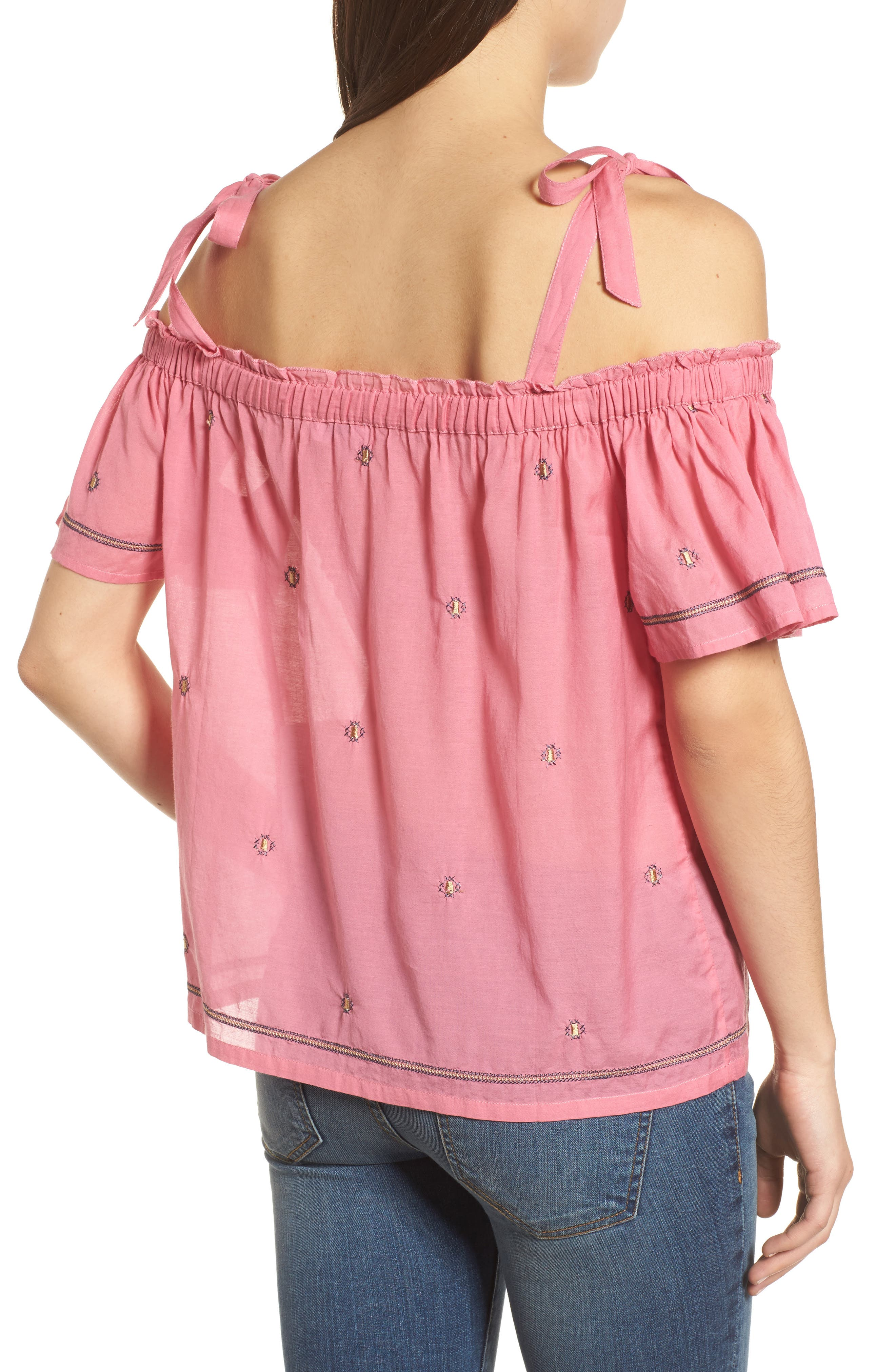 Embroidered Off the Shoulder Top,                             Alternate thumbnail 2, color,                             Flamingo Pink
