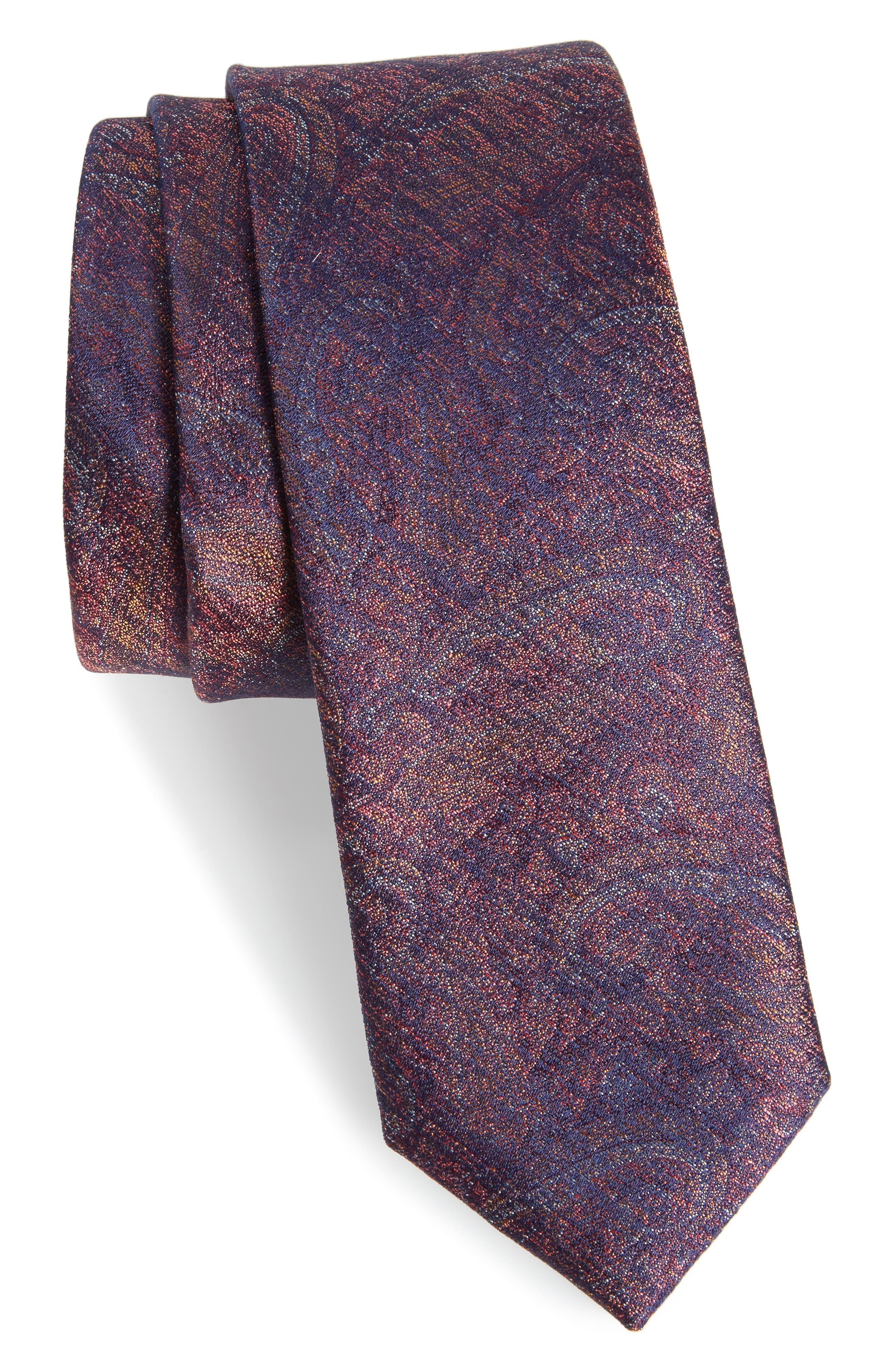 Alexander Paisley Silk Tie,                         Main,                         color, Cognac