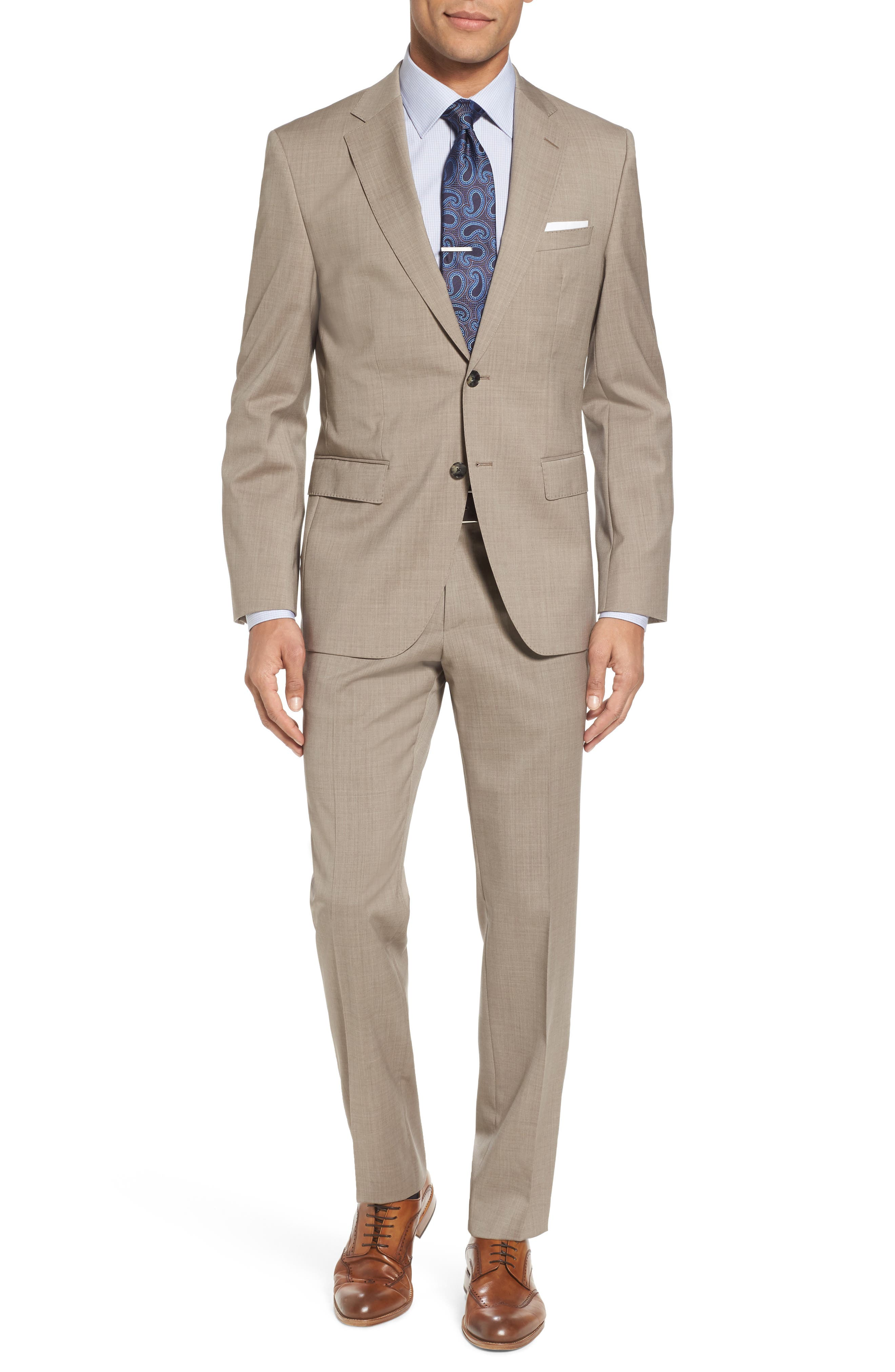 Johnstons/Lenon Classic Fit Solid Wool Suit,                             Main thumbnail 1, color,                             Medium Beige