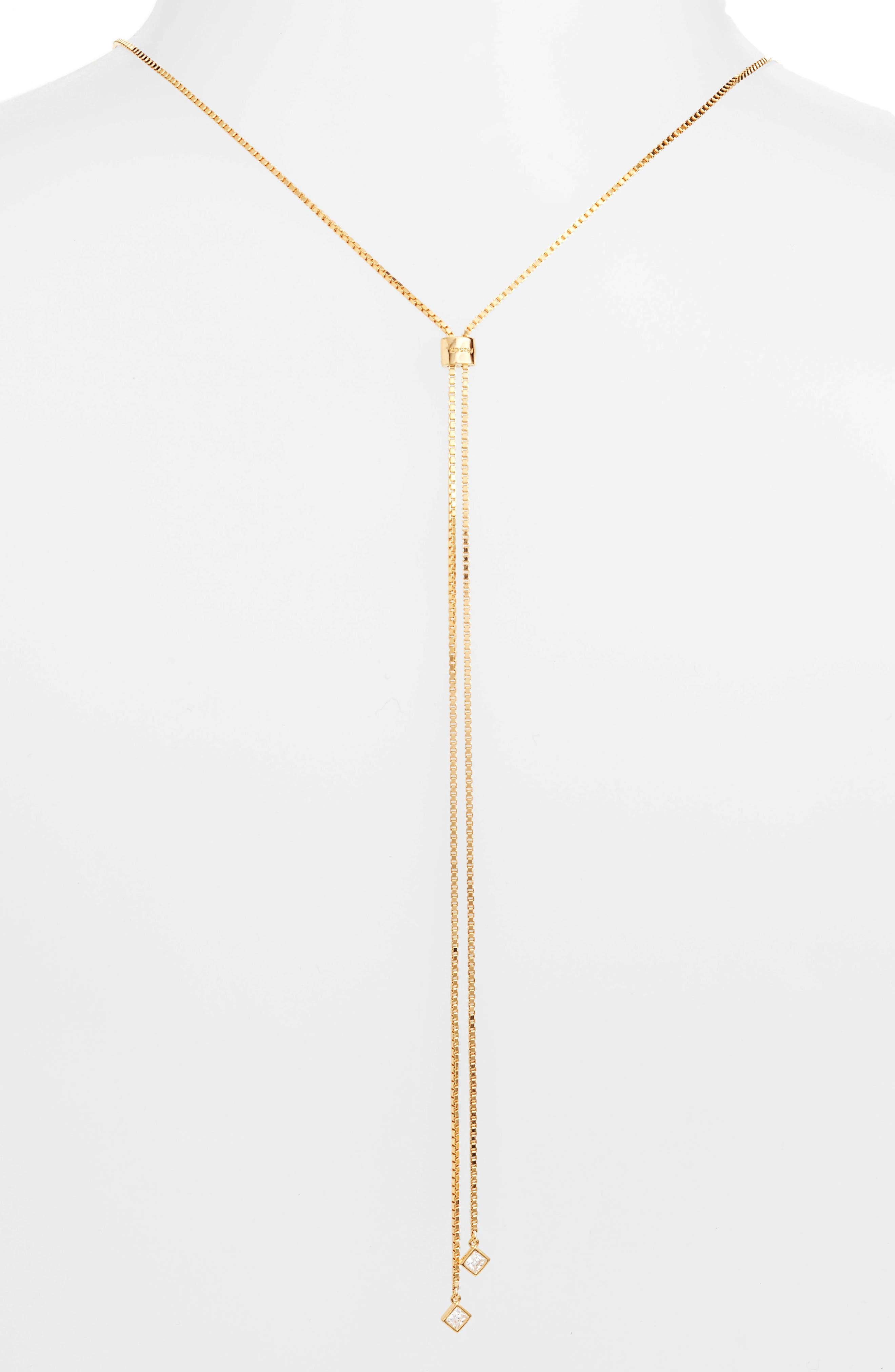 Cubic Zirconia Slider Necklace,                             Alternate thumbnail 4, color,                             Gold