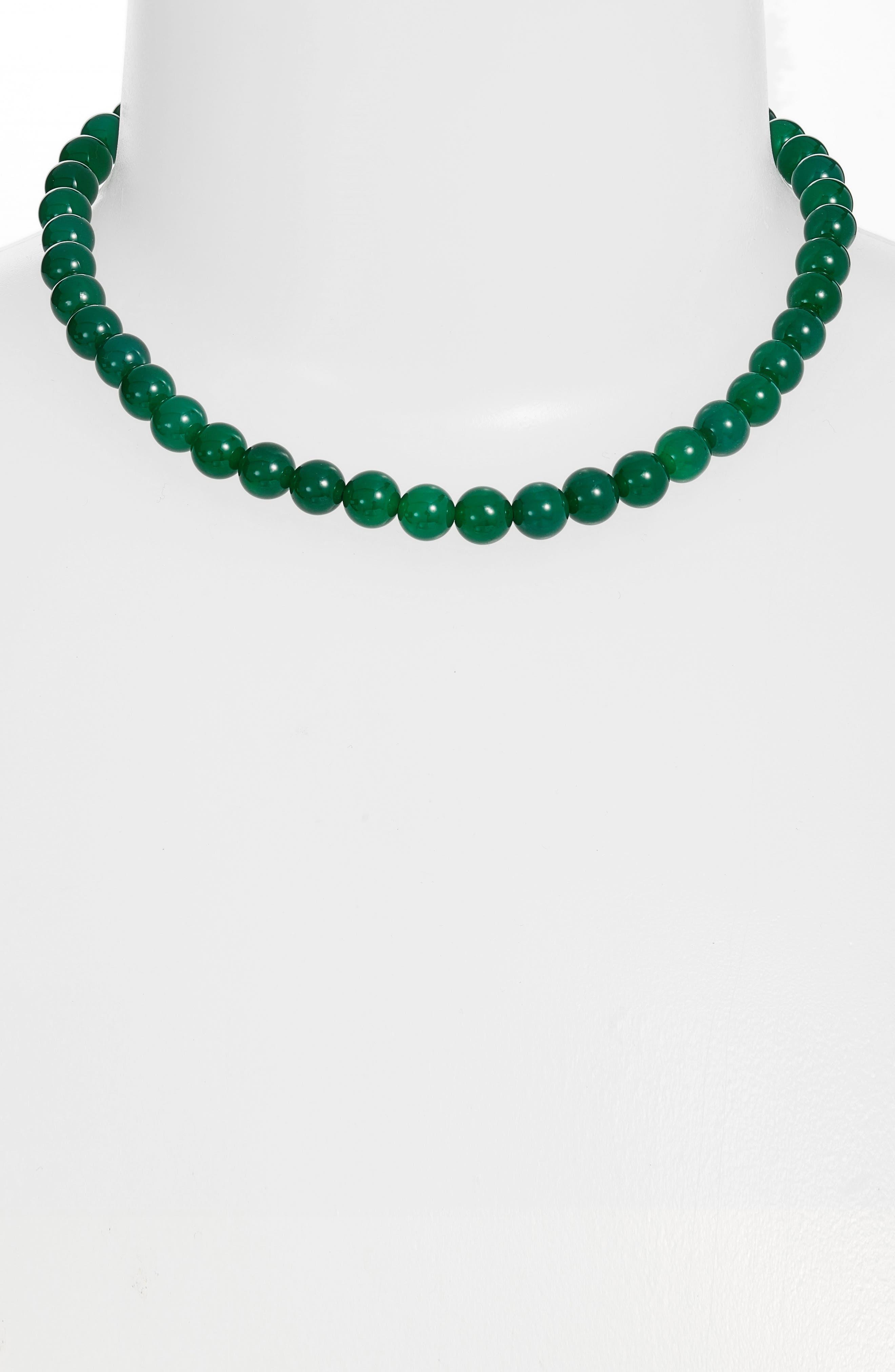 Collar Necklace,                             Alternate thumbnail 2, color,                             Gold/ Jade/ Black