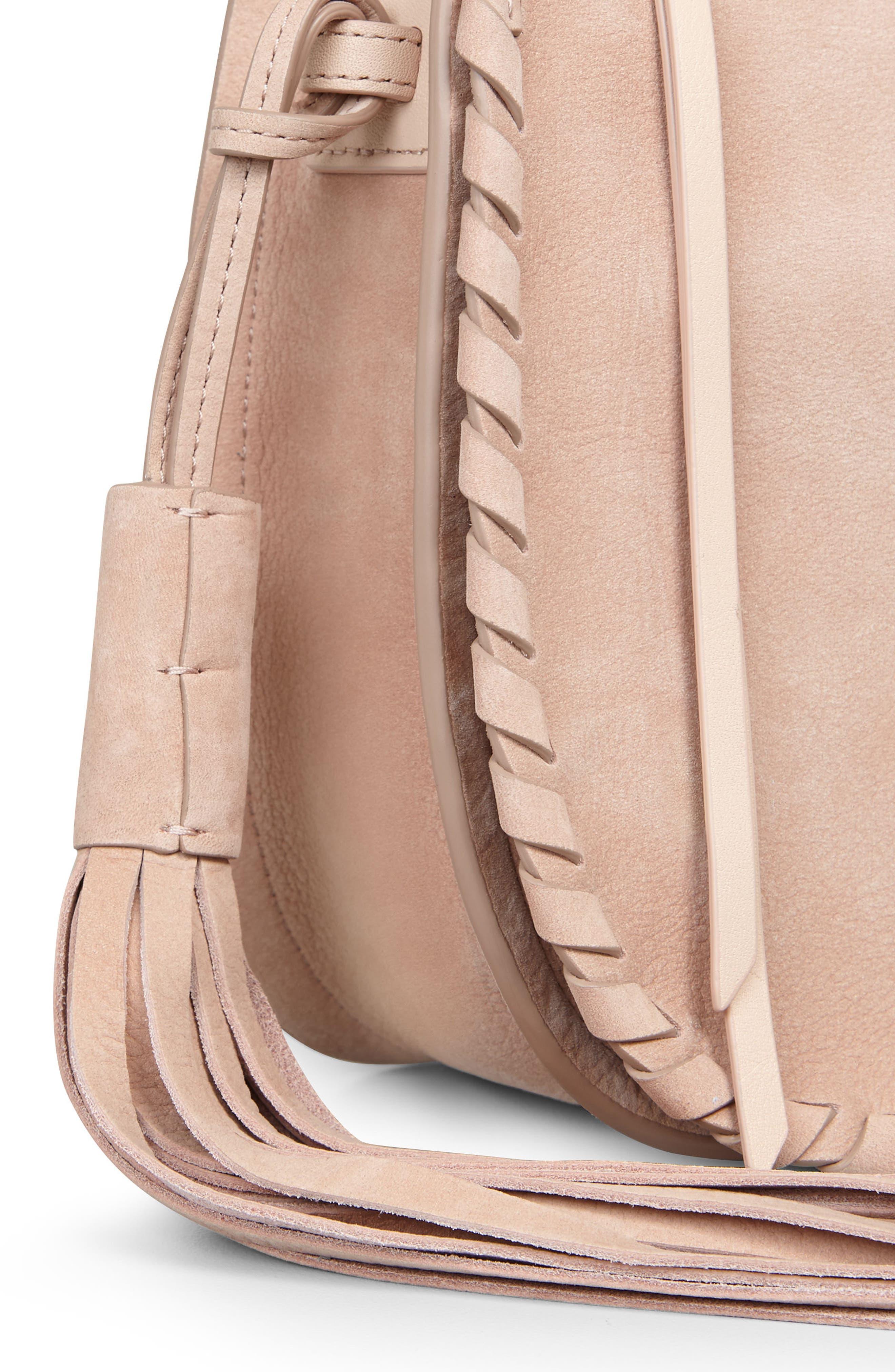Mori Suede Crossbody Bag,                             Alternate thumbnail 5, color,                             Nude Pink