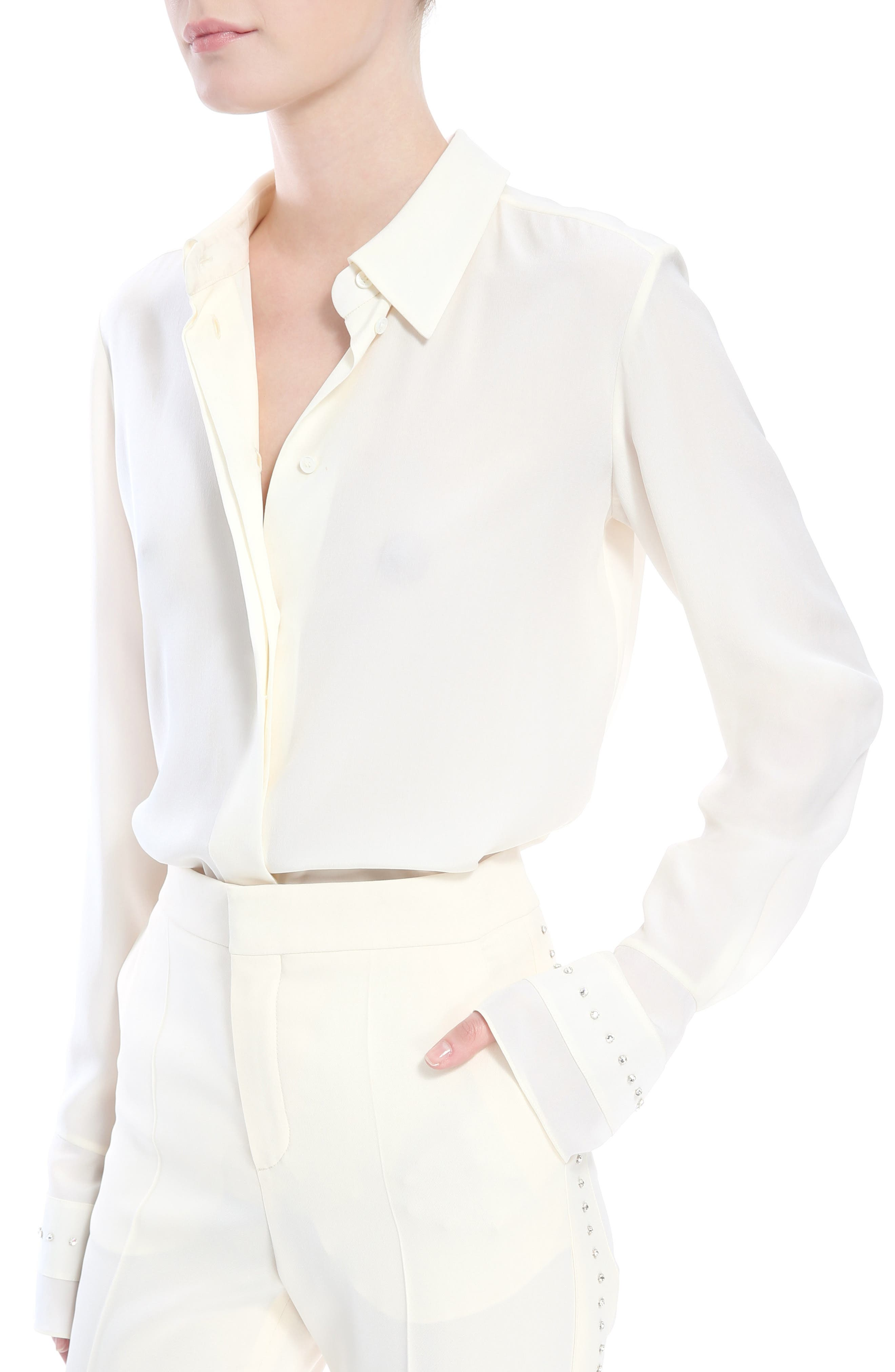 Rhinstone Trim Silk Shirt with Scarf,                             Alternate thumbnail 5, color,                             Eden White