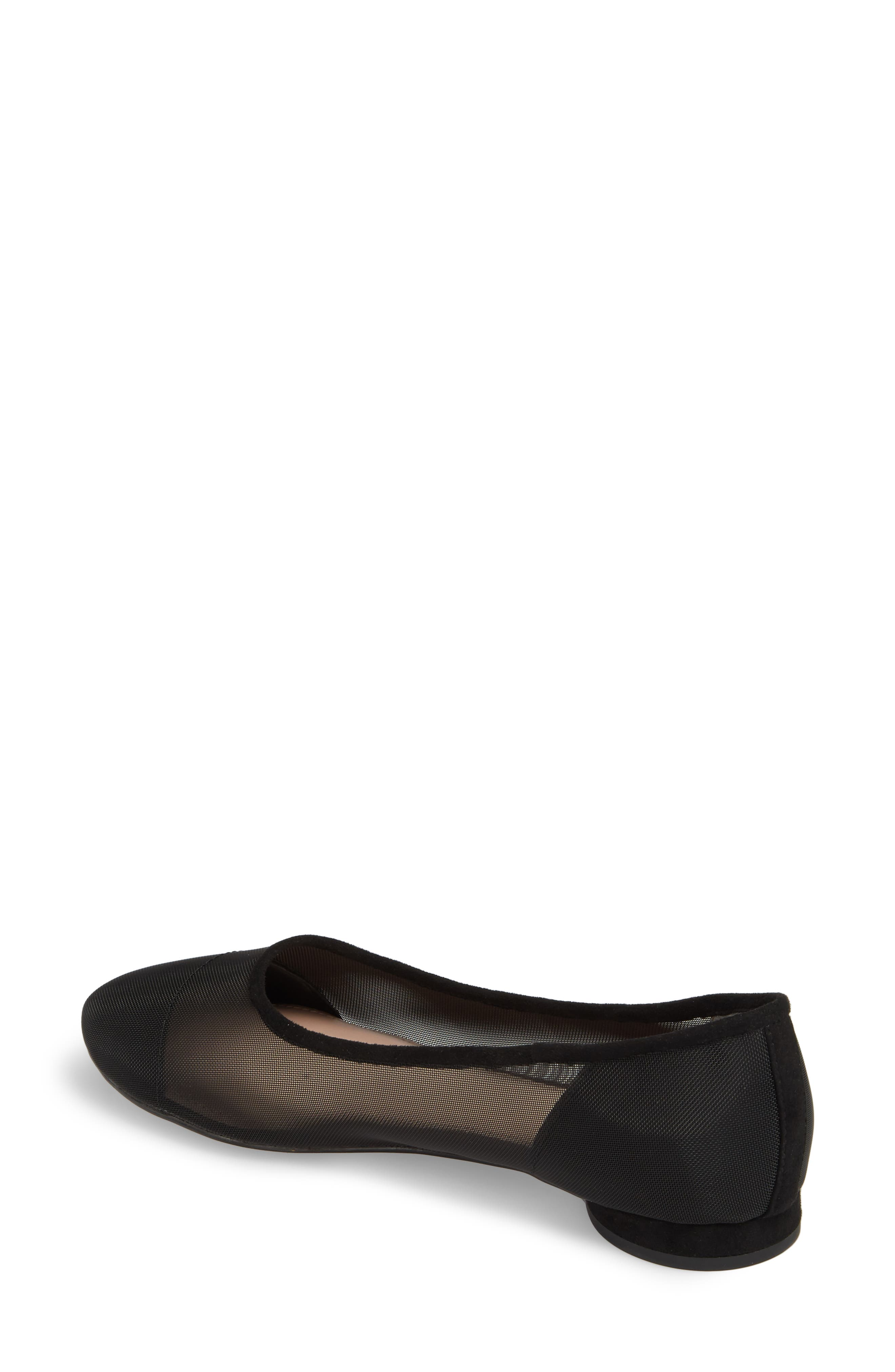 Marian Mesh Inset Flat,                             Alternate thumbnail 2, color,                             Black Suede