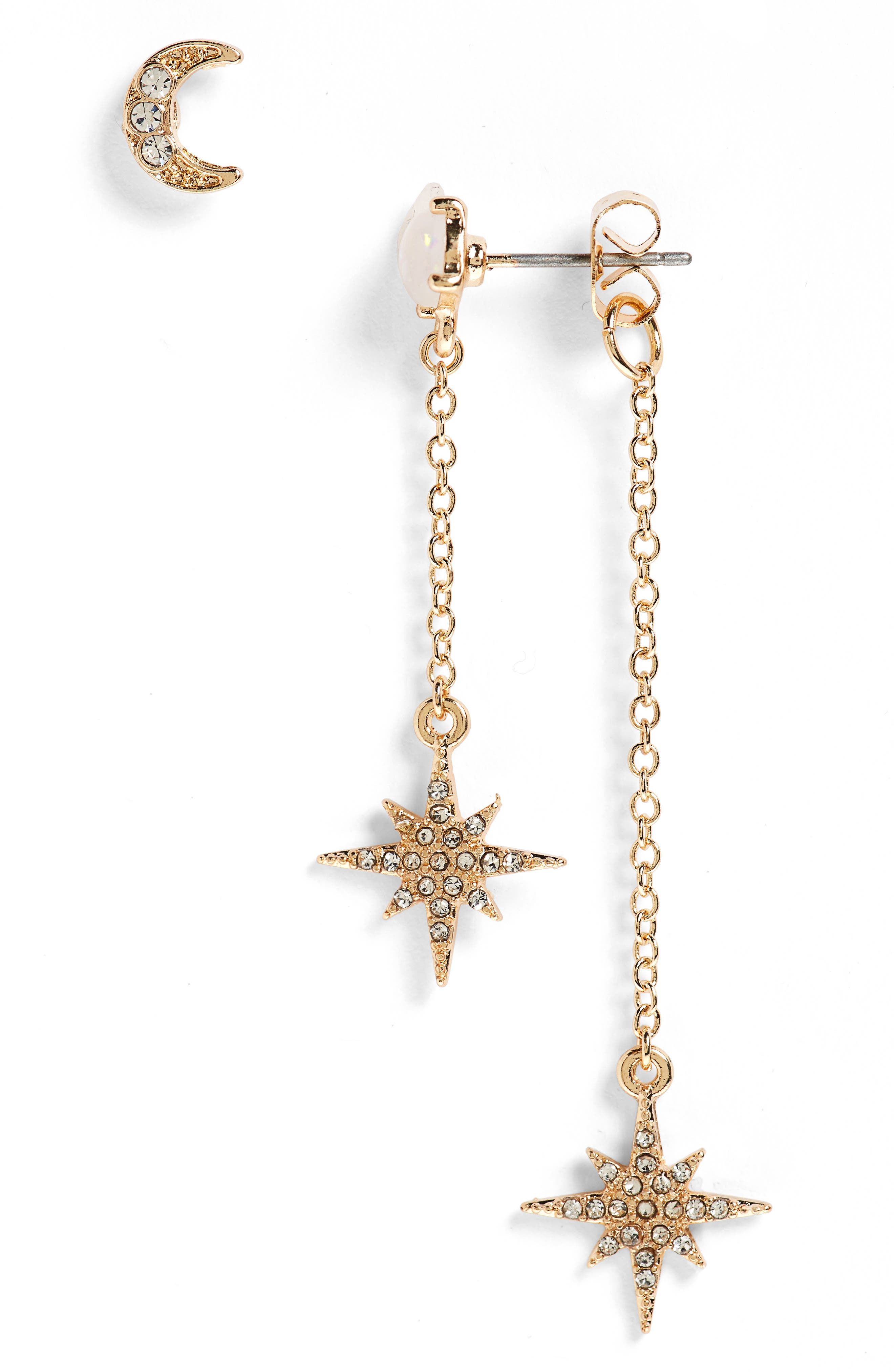 Moon & Star with Faux Opal Statement Earrings,                             Main thumbnail 1, color,                             Gold