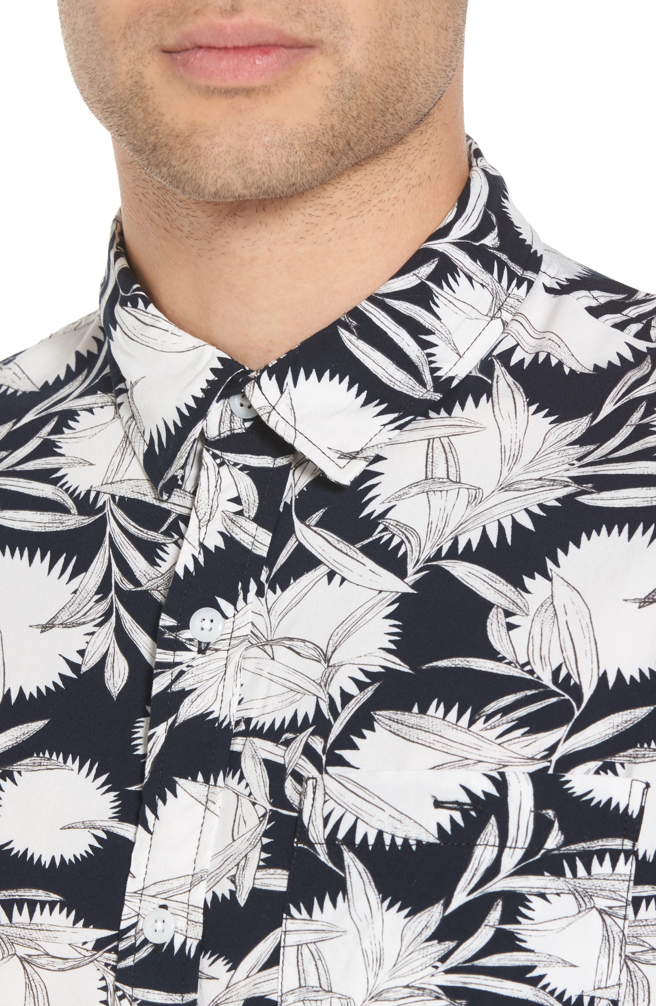Print Woven Shirt,                             Alternate thumbnail 4, color,                             Black White Flower Leaf