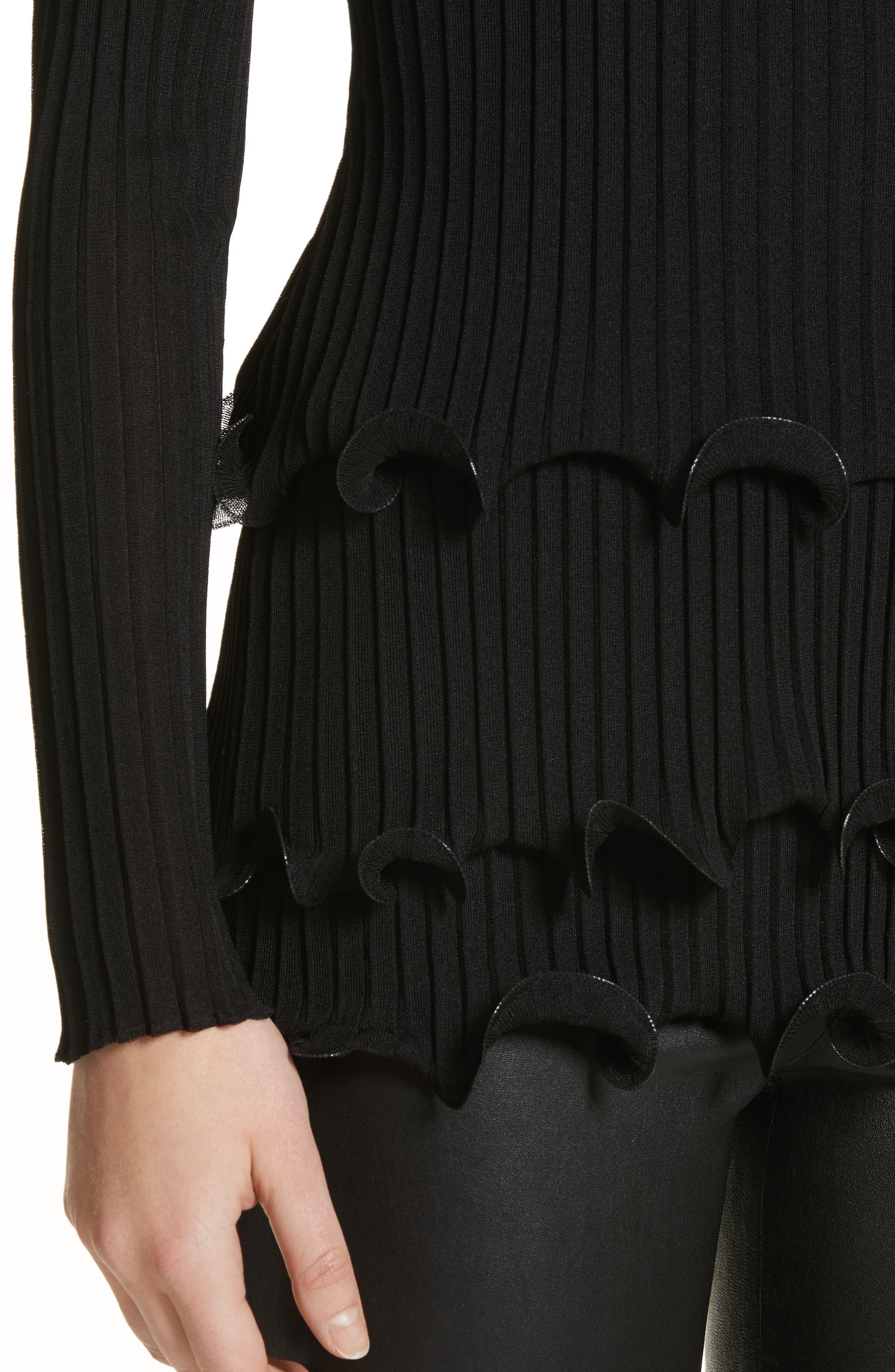 Alternate Image 4  - Givenchy Ruffle Hem Rib Knit Top
