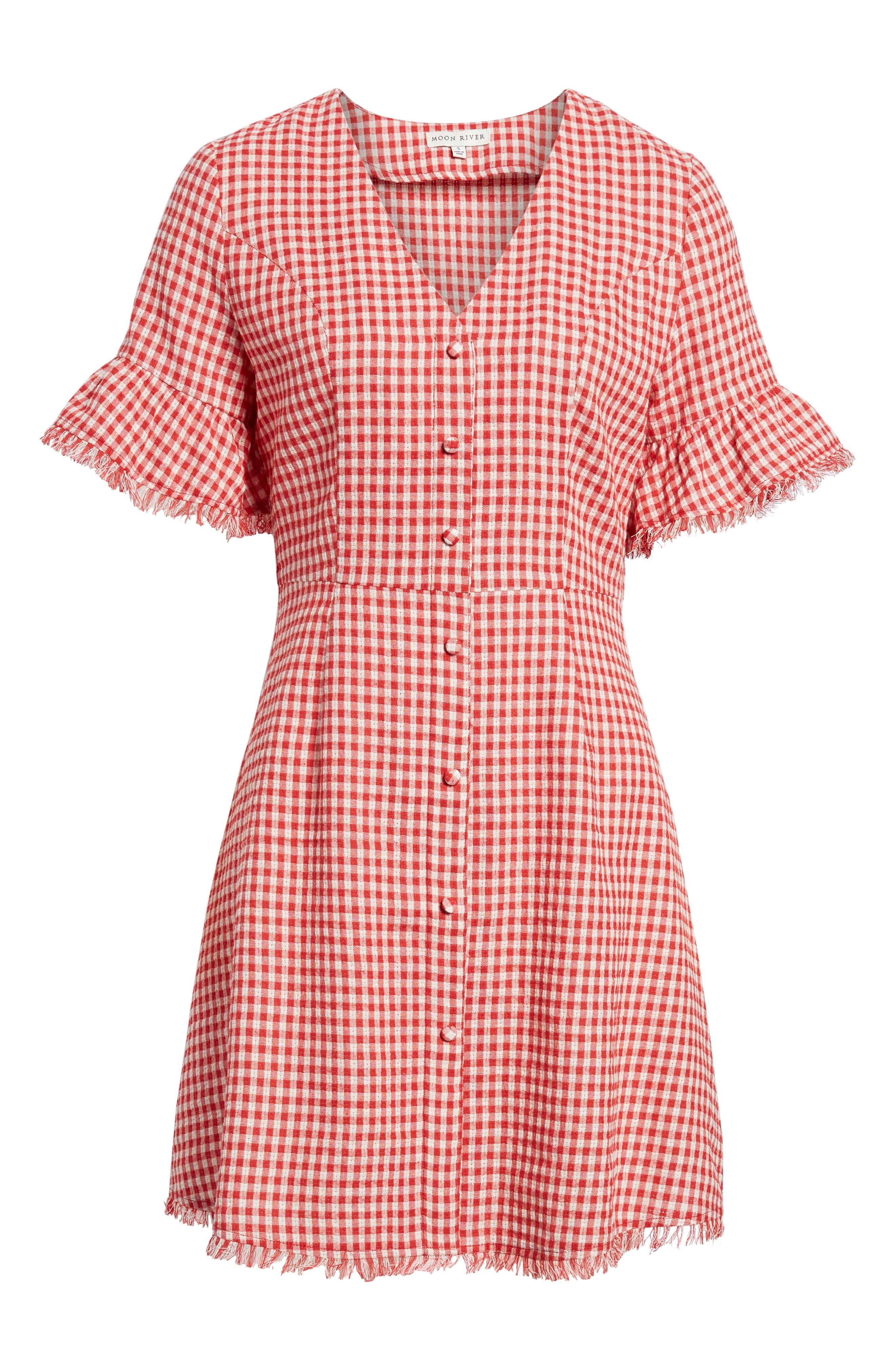 Gingham Ruffle Sleeve Dress,                             Alternate thumbnail 7, color,                             Red Gingham