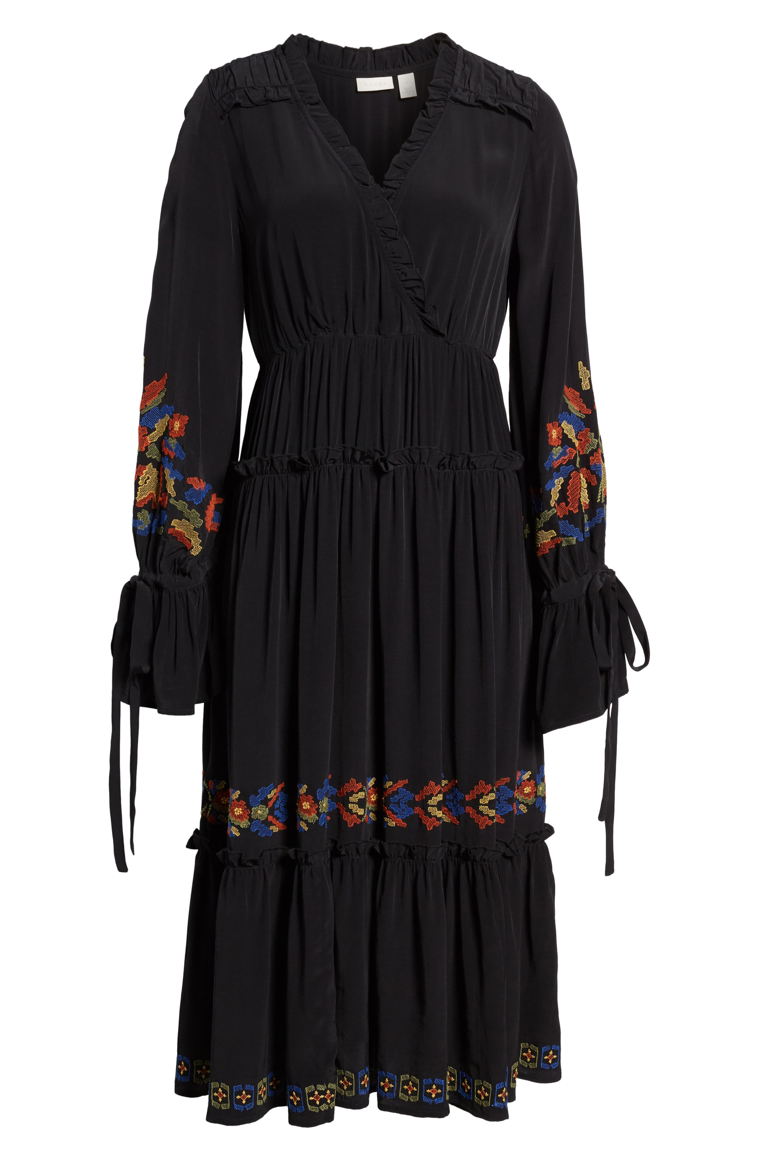 Embroidered Midi Dress,                             Alternate thumbnail 6, color,                             Black Combo