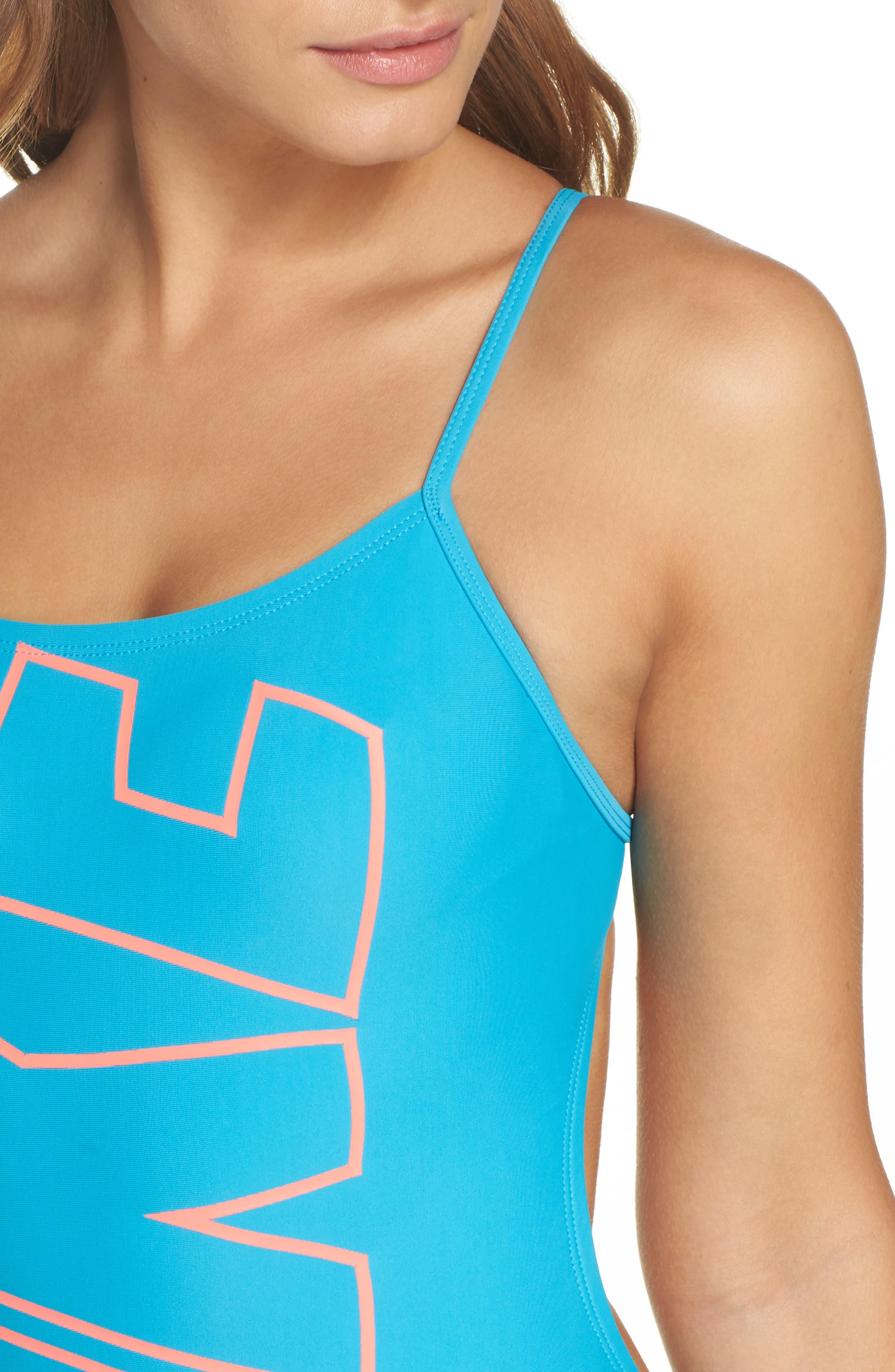 Crossback One-Piece Swimsuit,                             Alternate thumbnail 4, color,                             Light Blue Fury