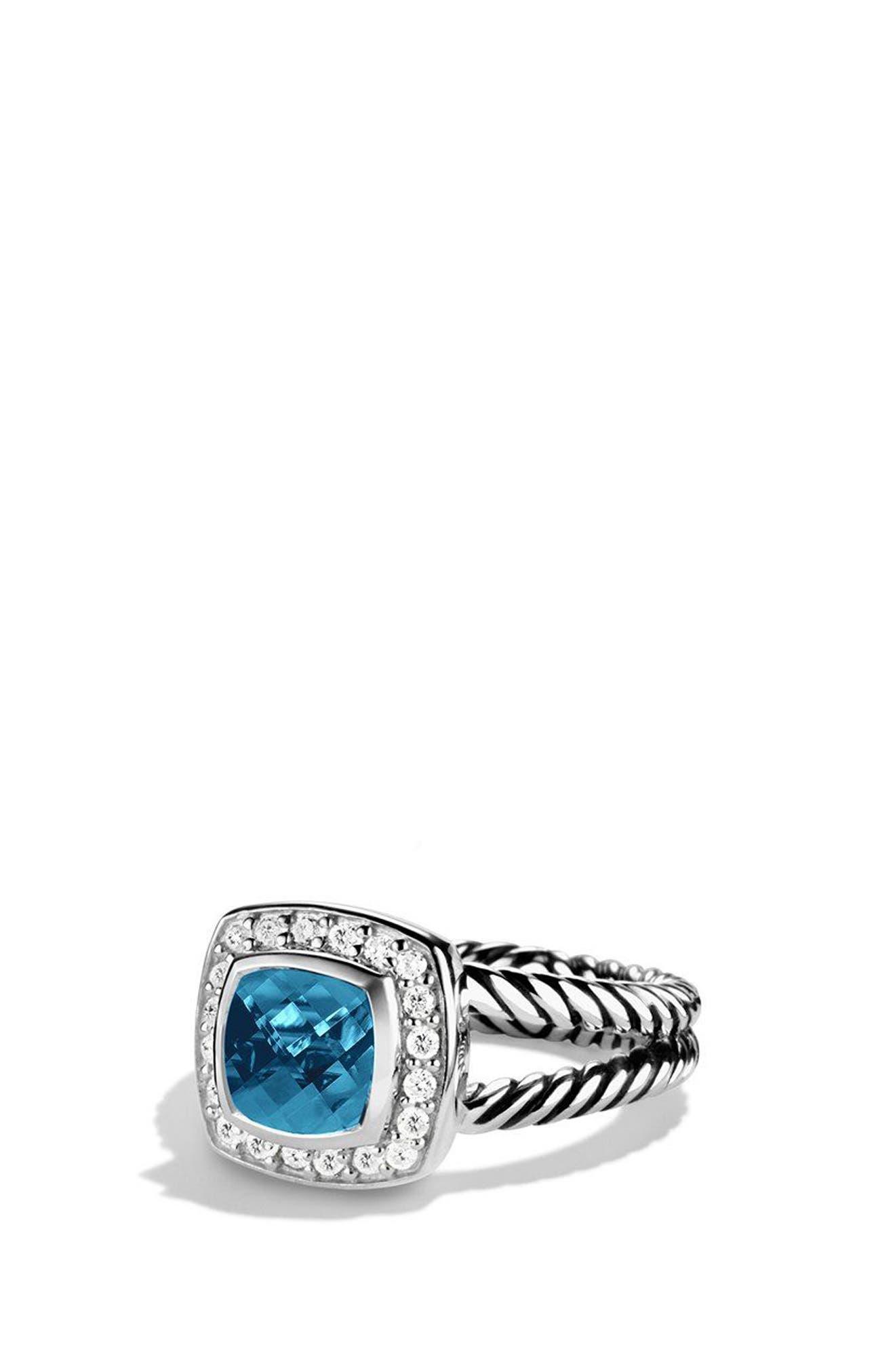 David Yurman Split Shank Ring With Hampton Blue Topaz And Diamonds