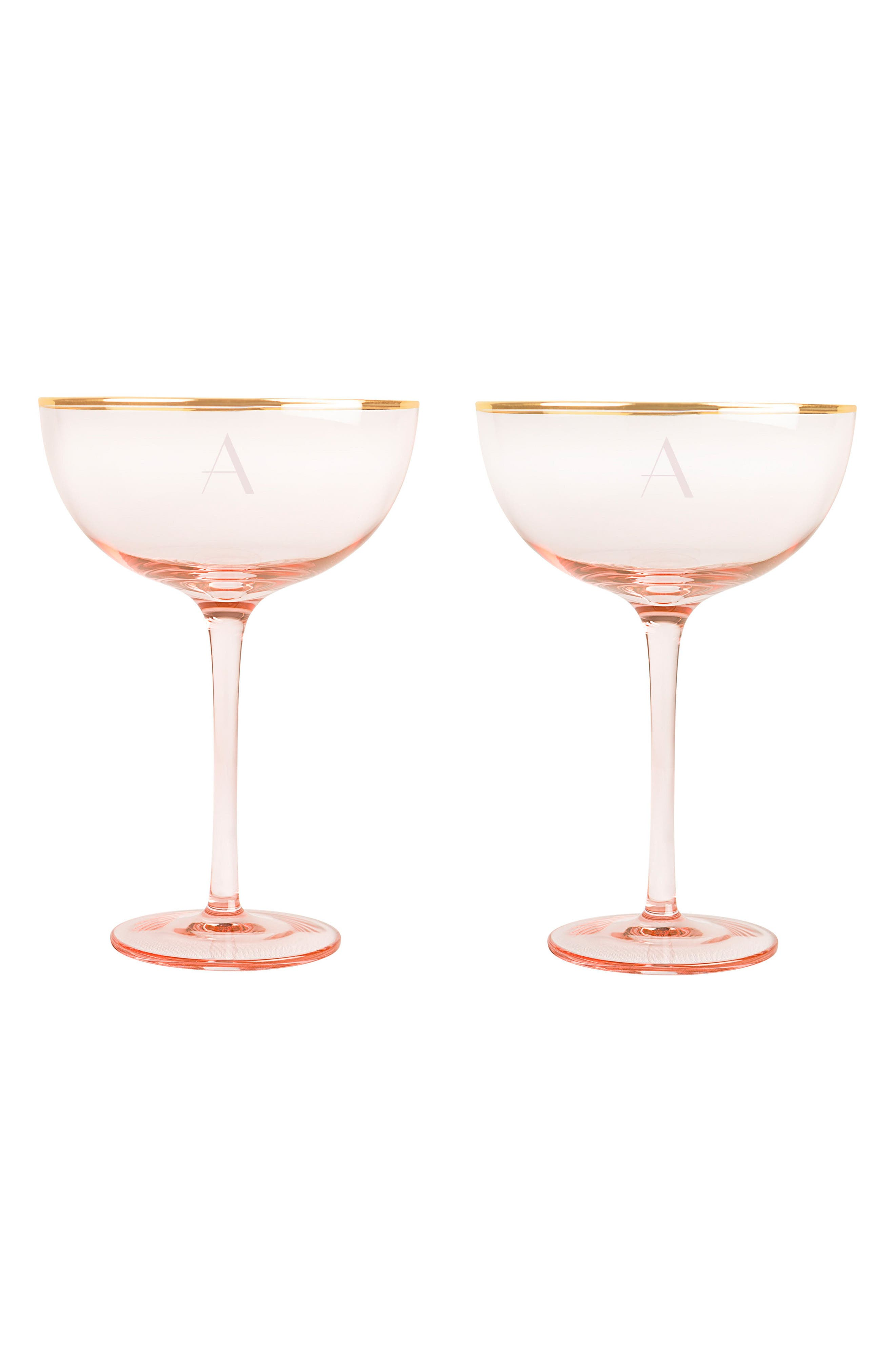 Cathy's Concepts Monogram Set of 2 Champagne Coupes